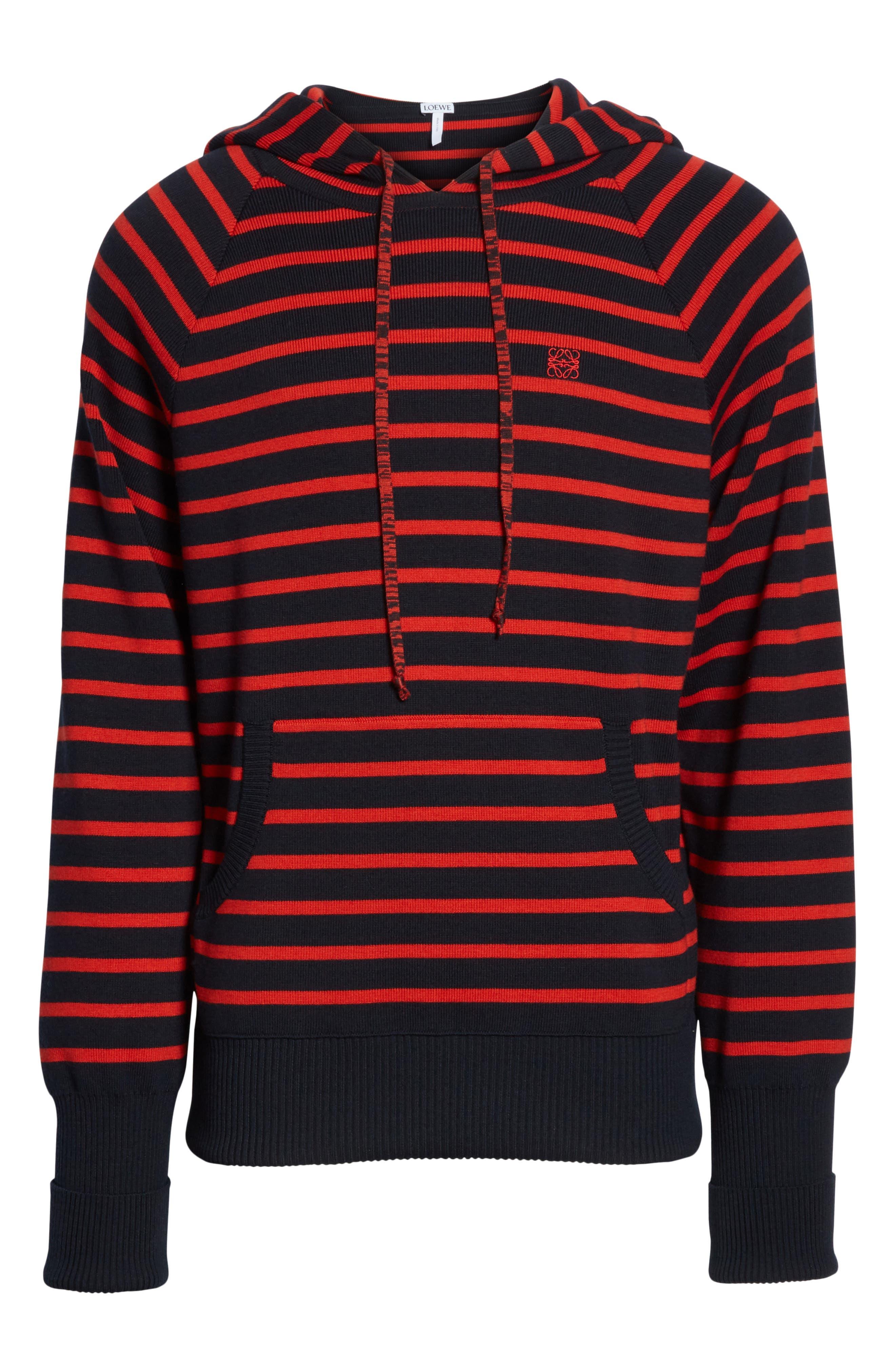Stripe Wool Blend Hoodie,                             Alternate thumbnail 6, color,