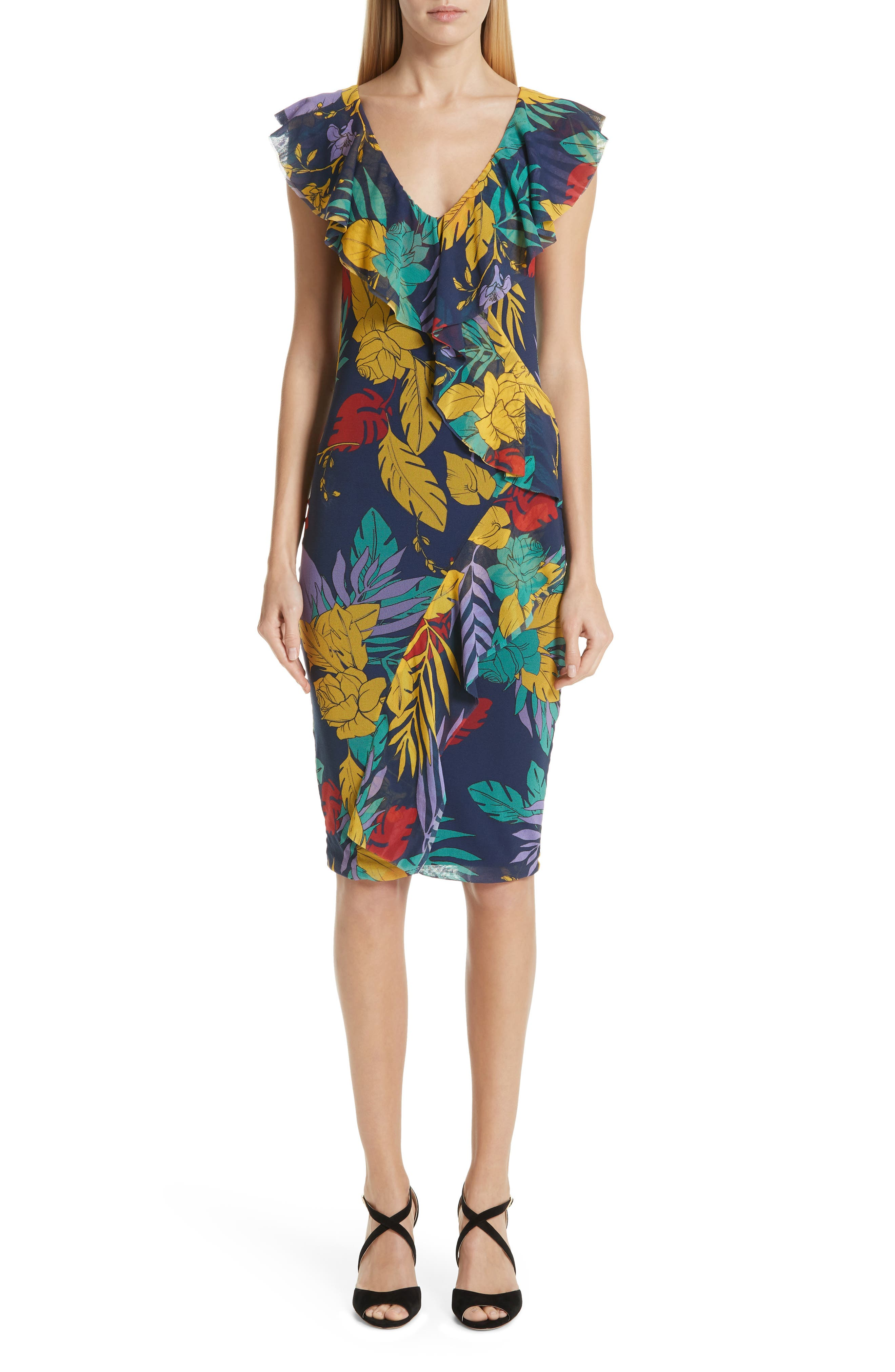 Fuzzi Floral Tulle Ruffle Dress, Blue