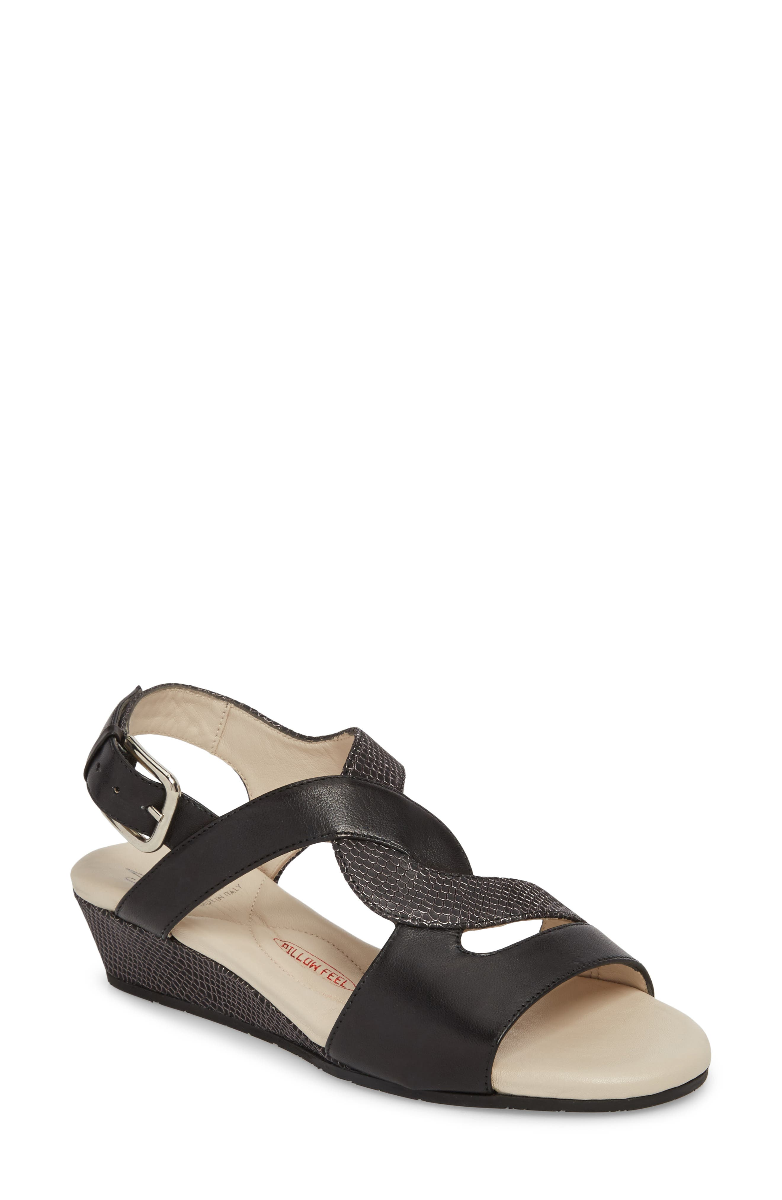 Morosa Wedge Sandal,                         Main,                         color, GRAPHITE LEATHER