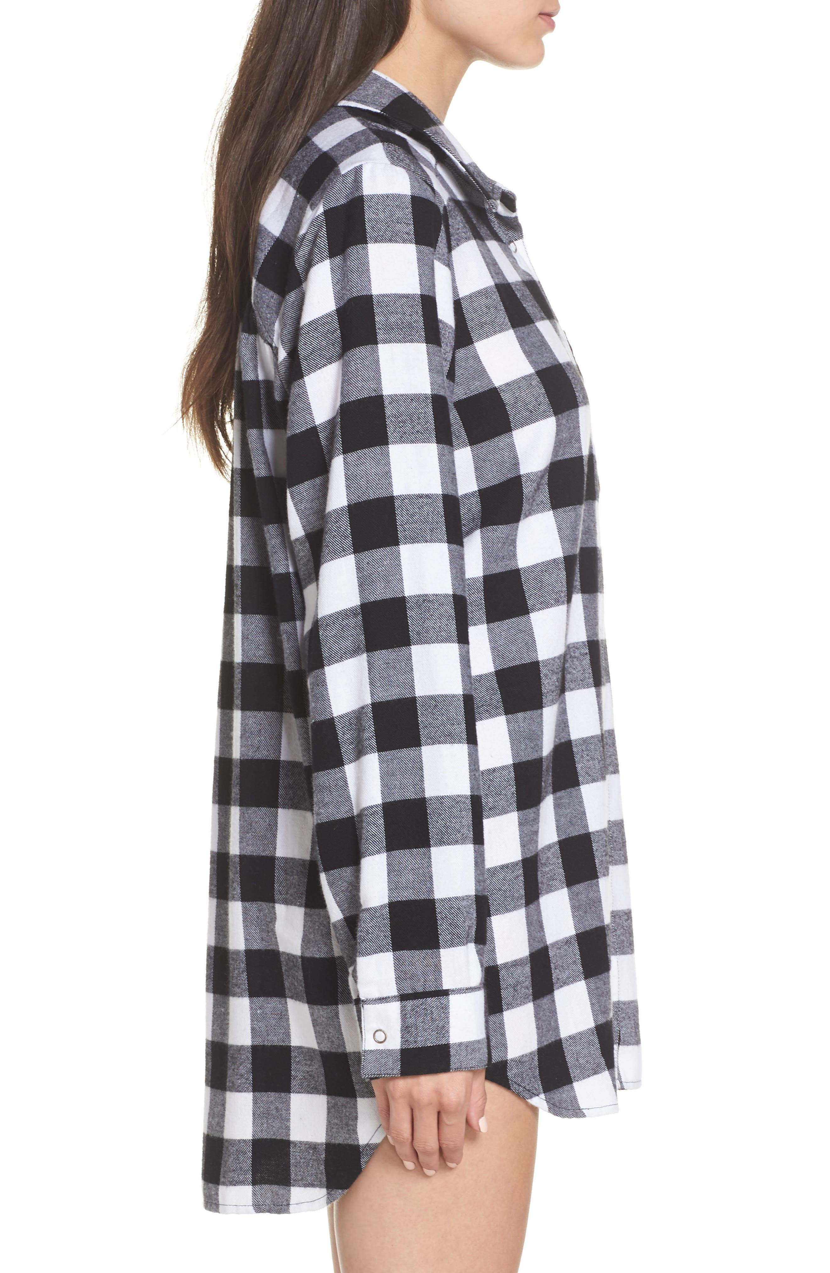 Flannel Nightshirt,                             Alternate thumbnail 3, color,                             002
