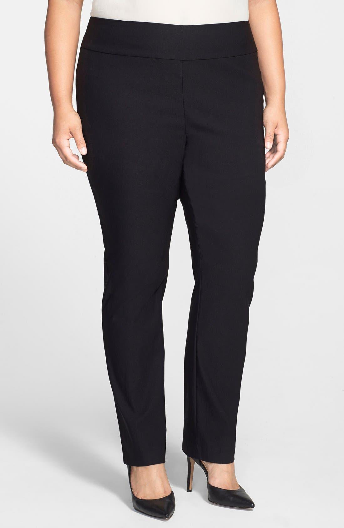'Wonder Stretch' Straight Leg Pants,                         Main,                         color, BLACK ONYX