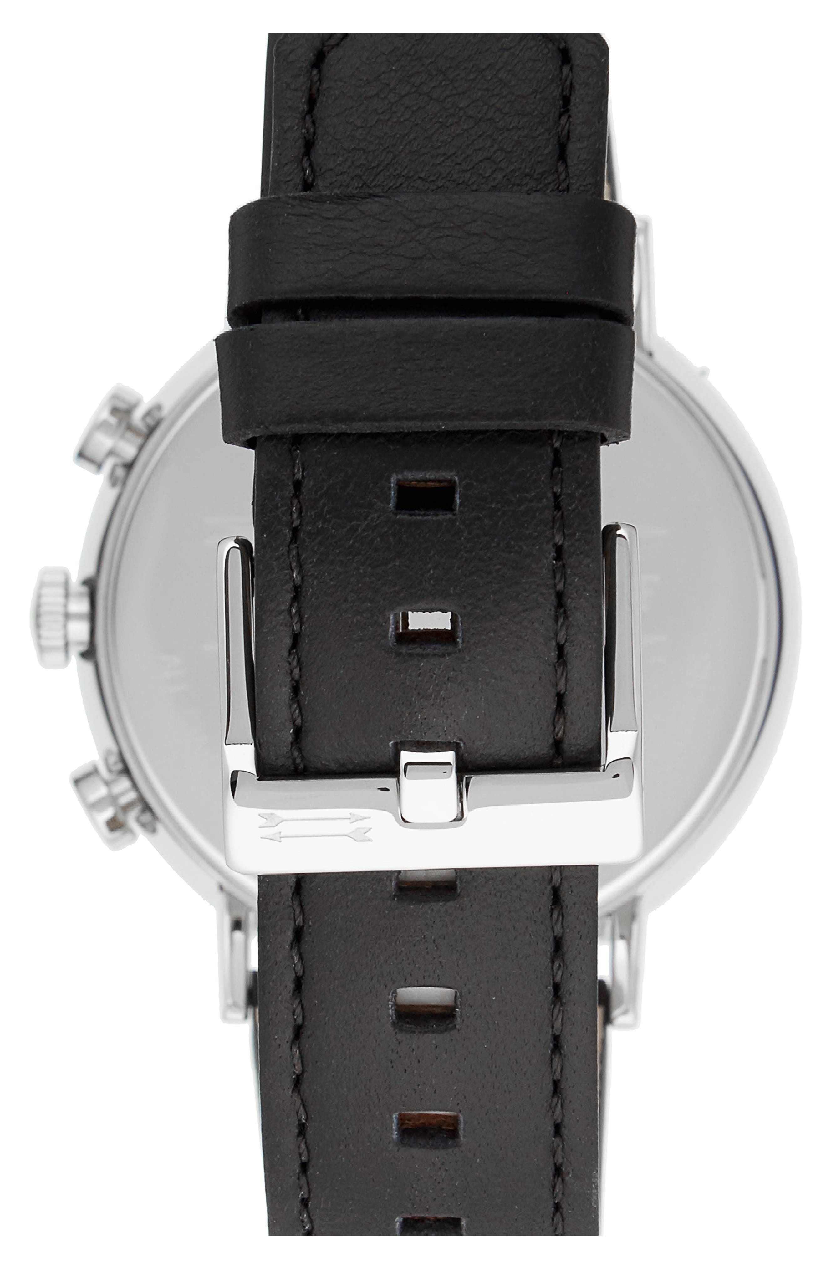 Griffith Leather Strap Watch, 43mm,                             Alternate thumbnail 2, color,                             BLACK/ SILVER