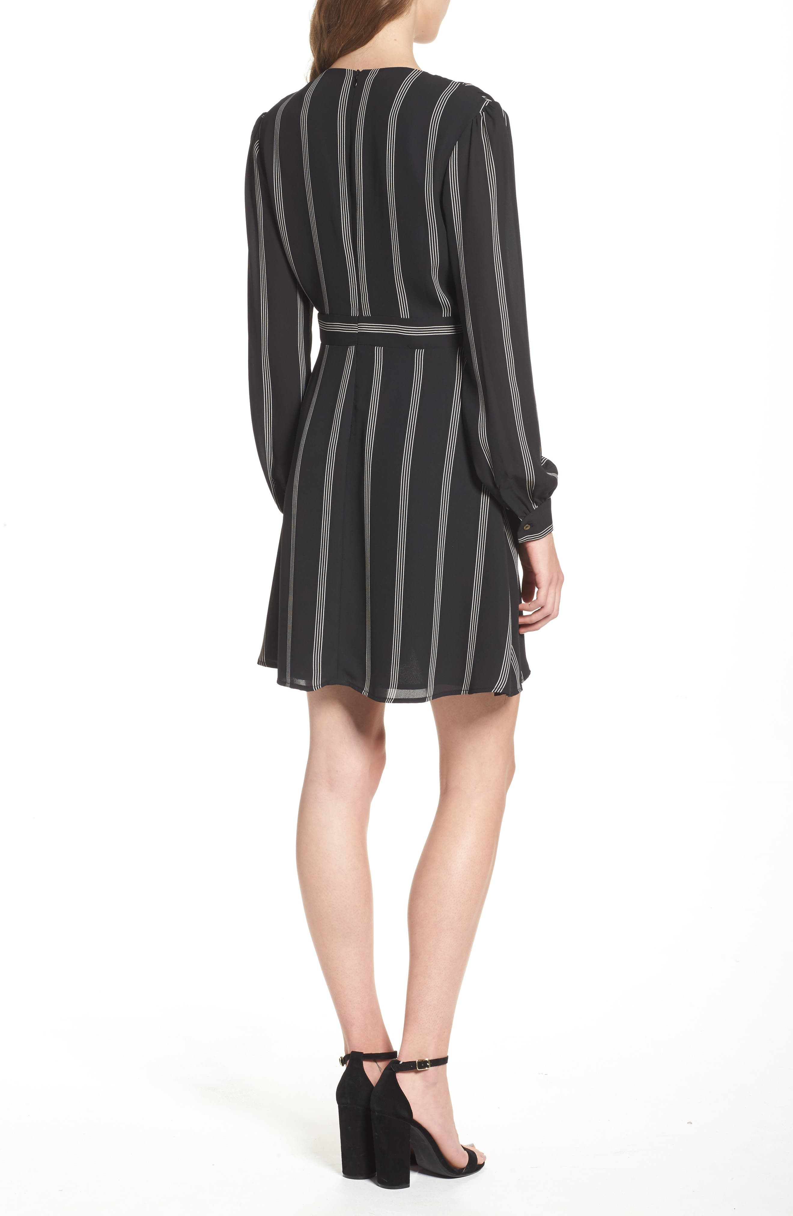 Stripe Fit & Flare Dress,                             Alternate thumbnail 2, color,                             002