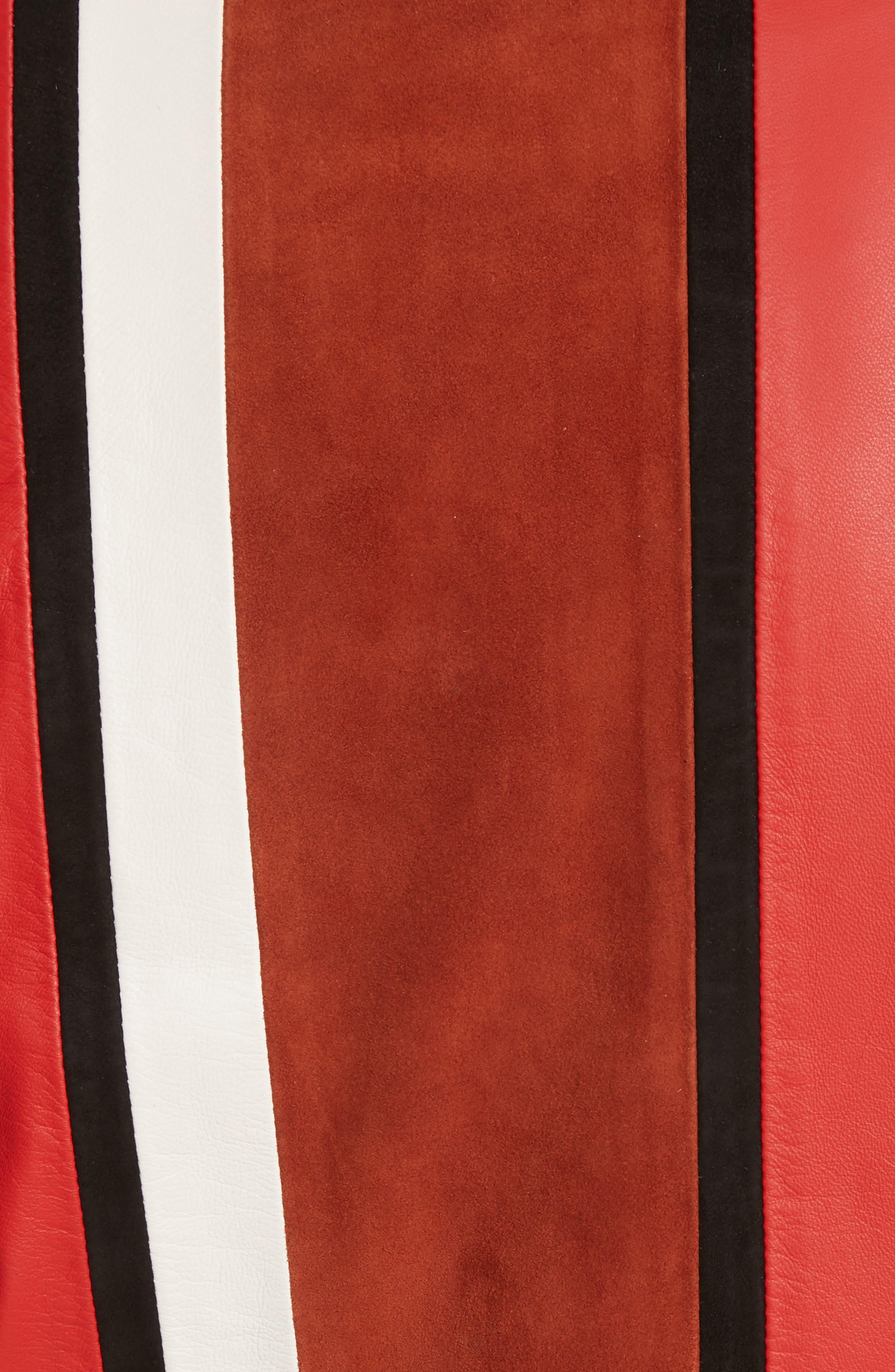 Stripe Collarless Leather Jacket,                             Alternate thumbnail 6, color,                             621