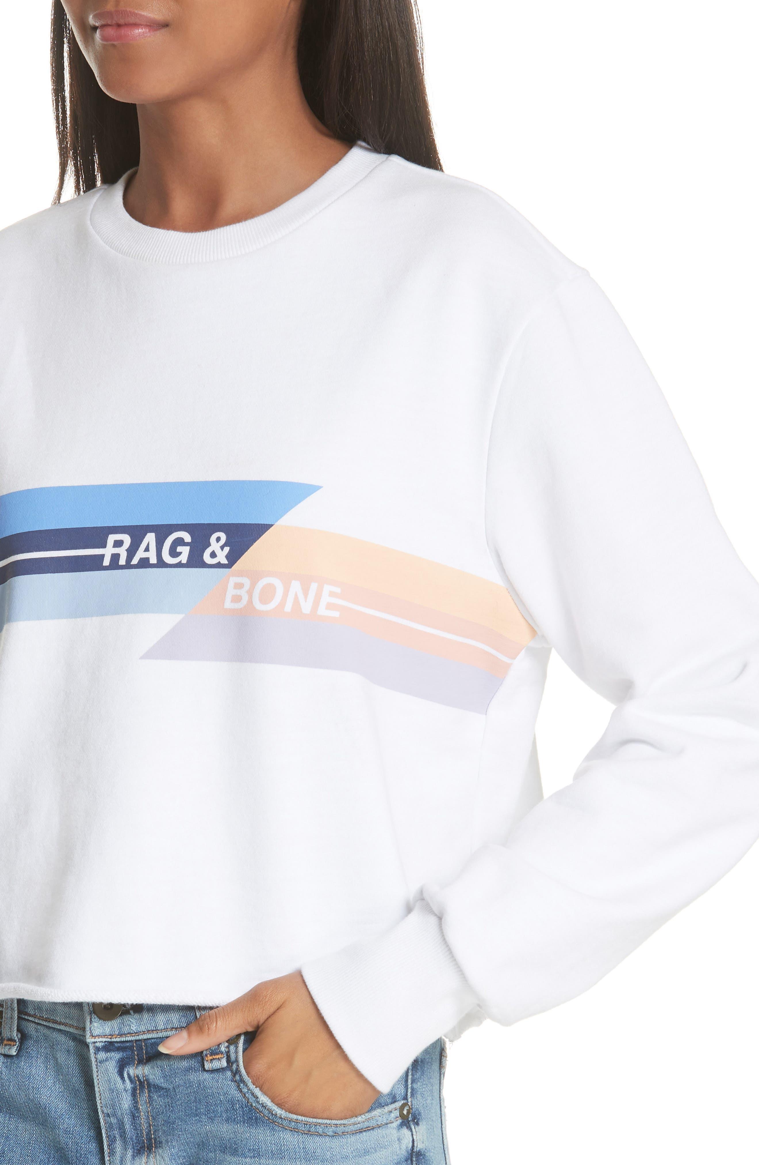JEAN Glitch Crop Sweatshirt,                             Alternate thumbnail 4, color,                             100