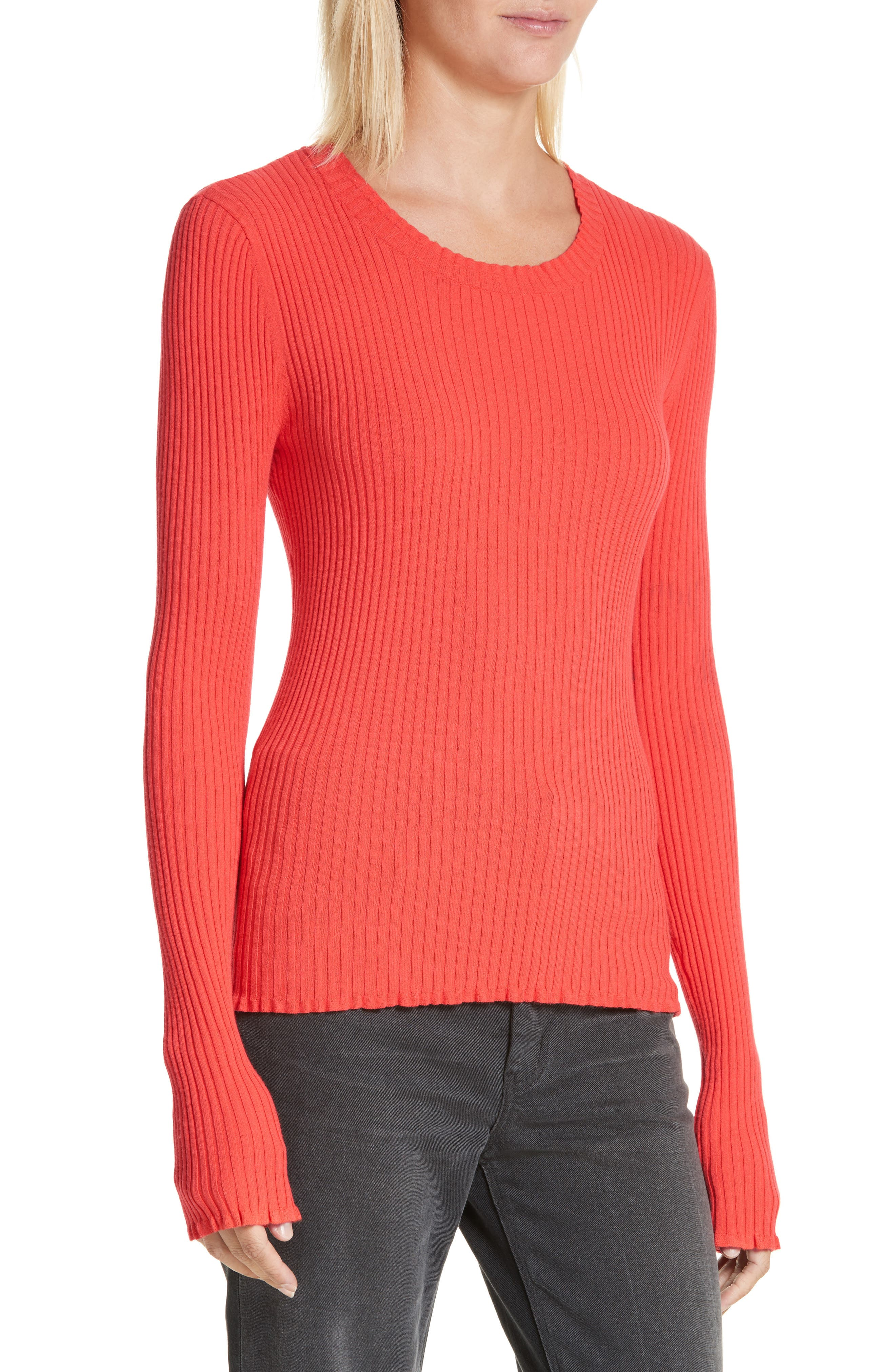 Rib Knit Scoop Neck Sweater,                             Main thumbnail 2, color,