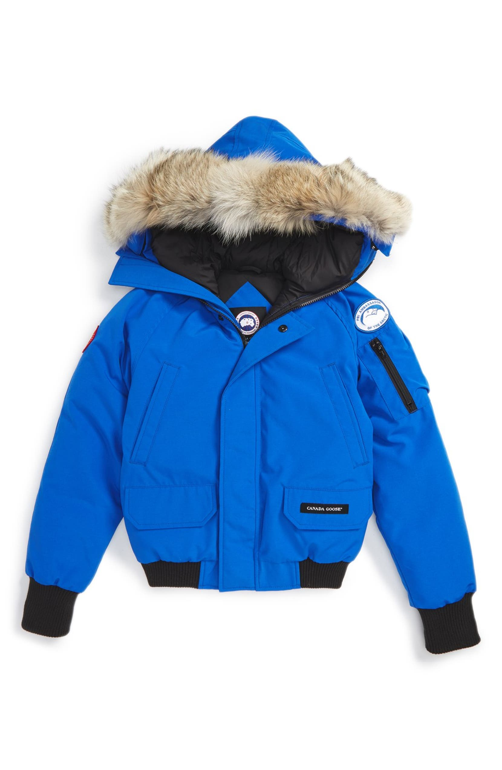 2581297783e857 Canada Goose  PBI Chilliwack  Hooded Bomber Jacket with Genuine Coyote Fur  Trim (Little Kid   Big Kid)