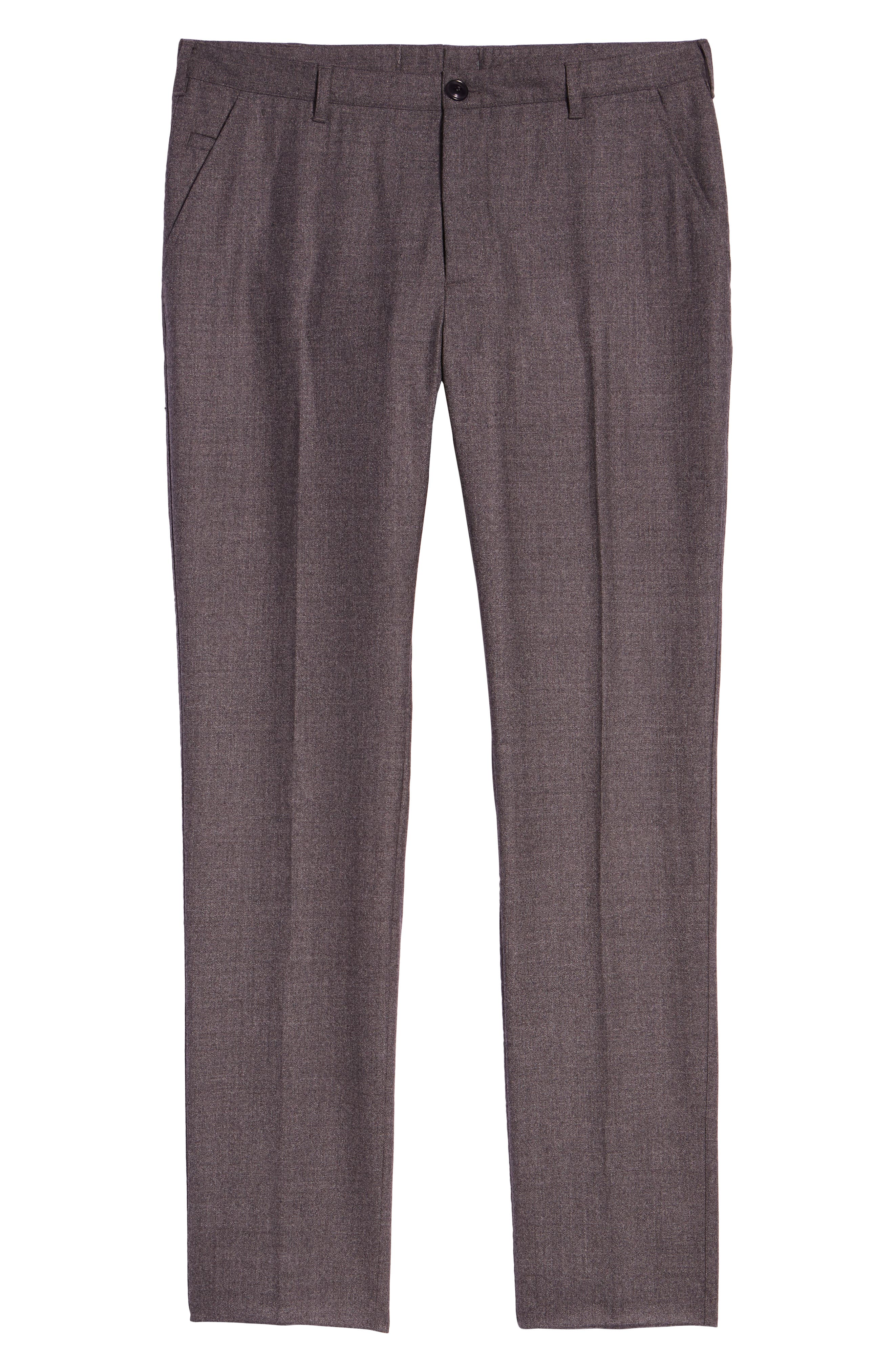 Flat Front Mélange Wool Extra Trim Fit Trousers,                             Alternate thumbnail 6, color,                             GREY