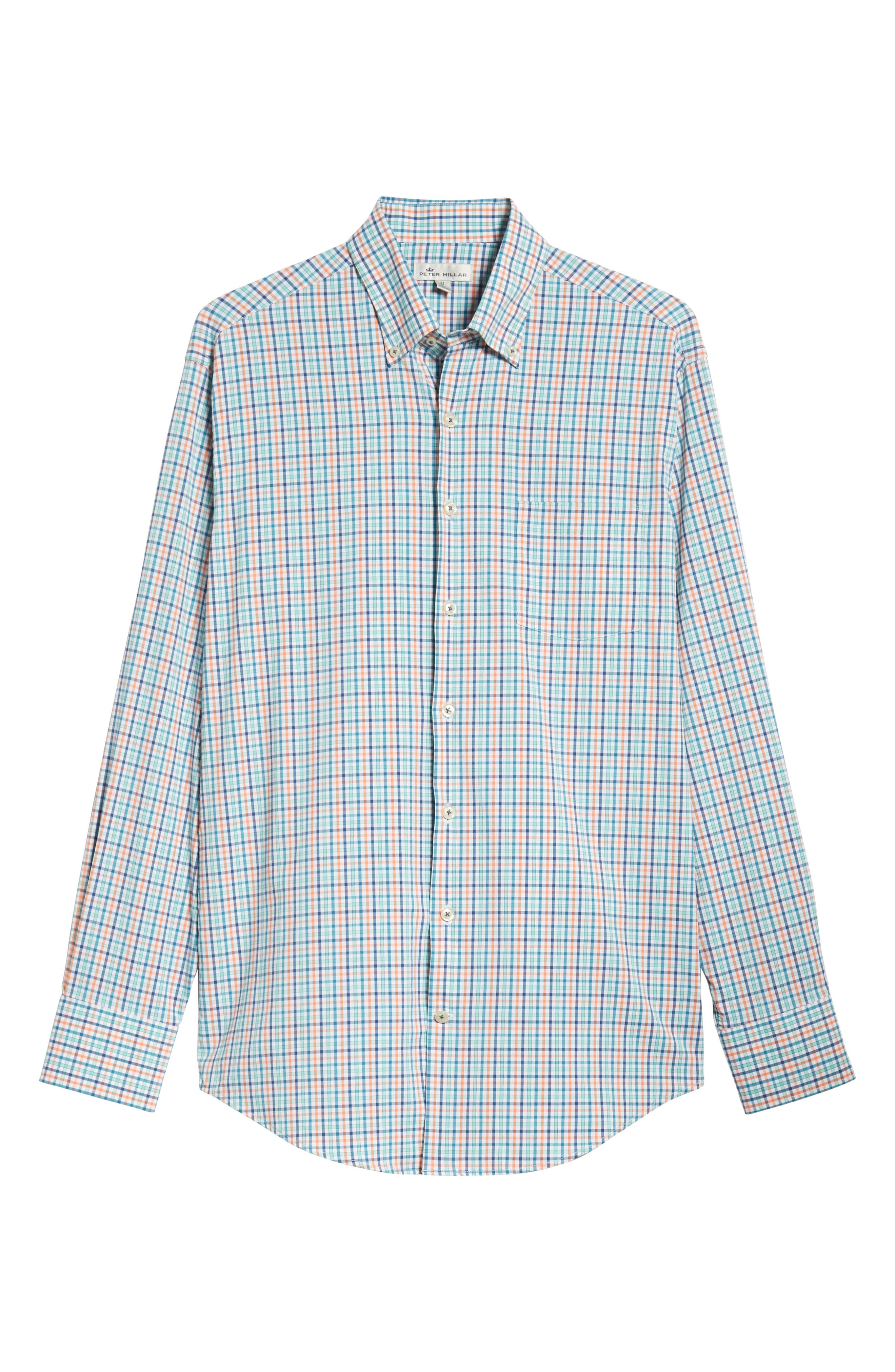 Lawson Regular Fit Tattersall Check Performance Sport Shirt,                             Alternate thumbnail 5, color,                             BLUE