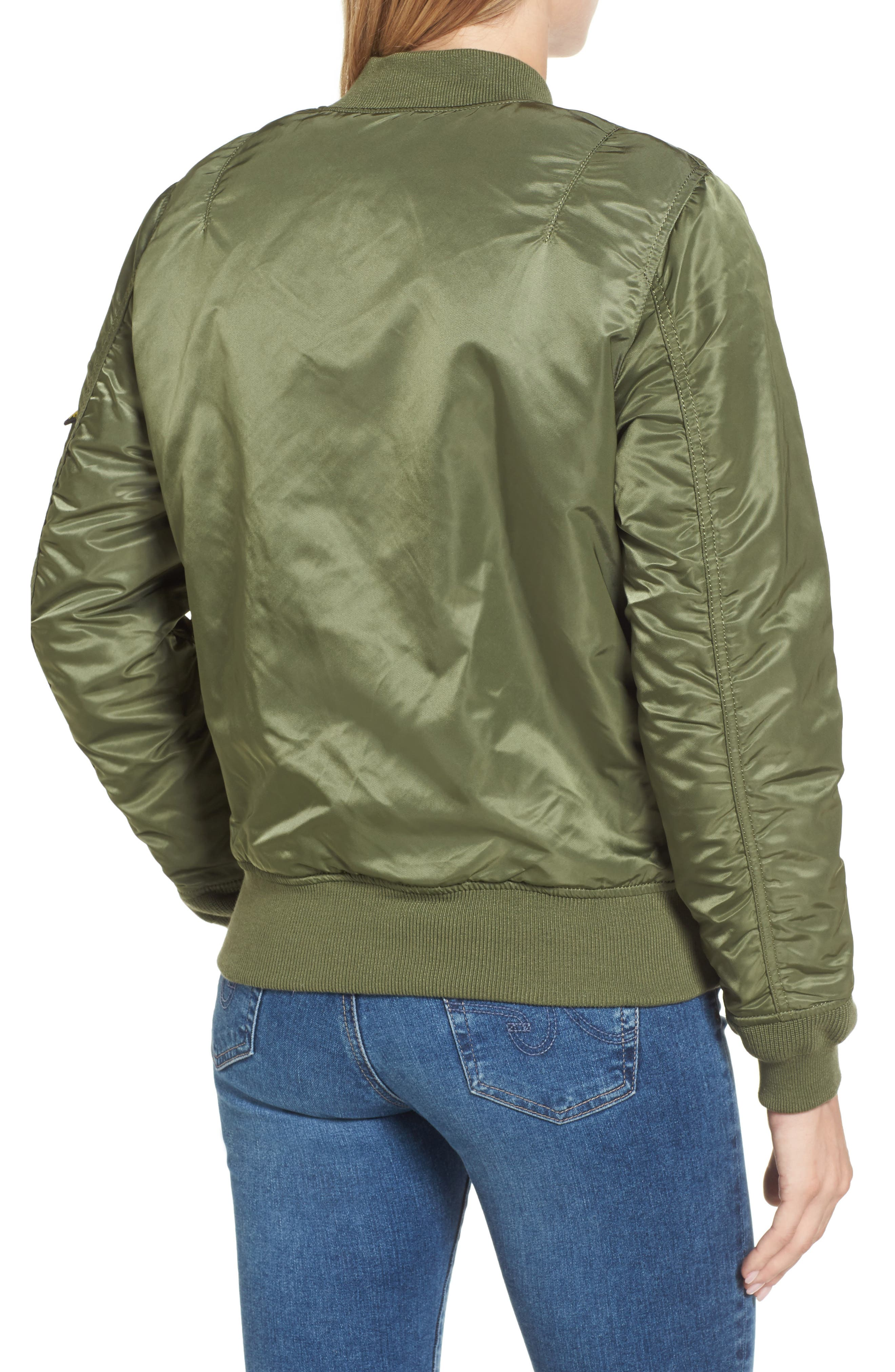 ALPHA INDUSTRIES,                             MA-1 W Bomber Jacket,                             Alternate thumbnail 2, color,                             SAGE GREEN