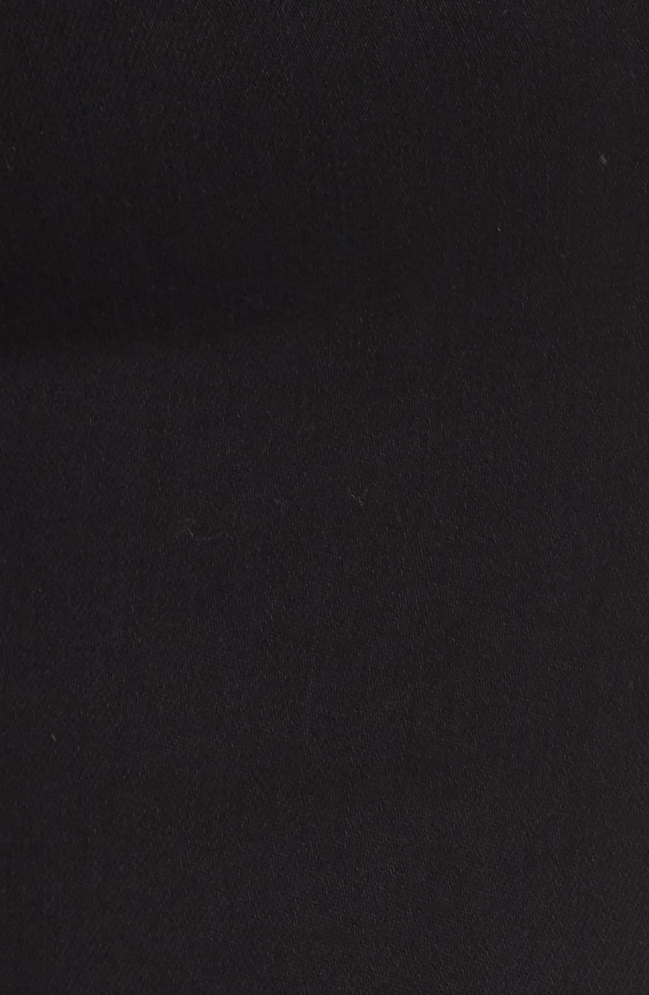 Fray Hem Ankle Skinny Jeans,                             Alternate thumbnail 6, color,                             BLACK RINSE WASH