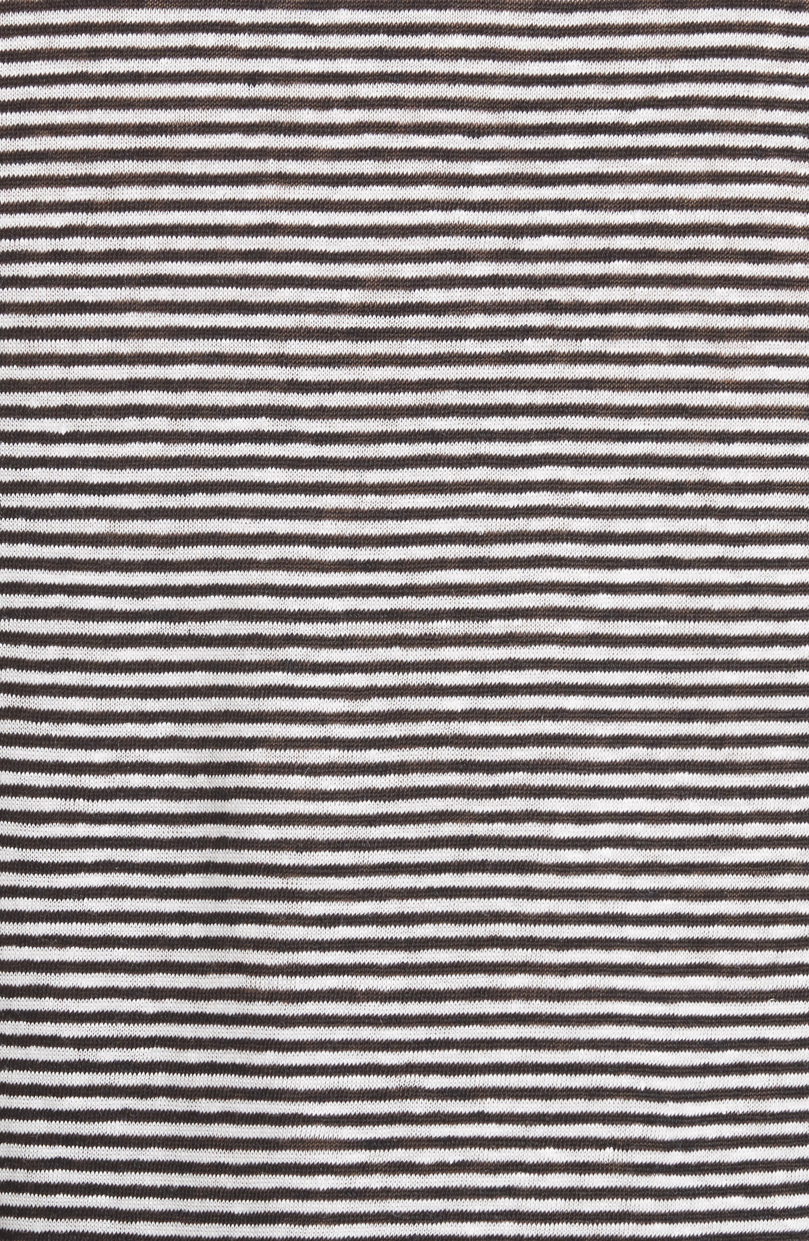Ines Stripe Linen Crop Tee,                             Alternate thumbnail 5, color,                             BLACK/ WHITE