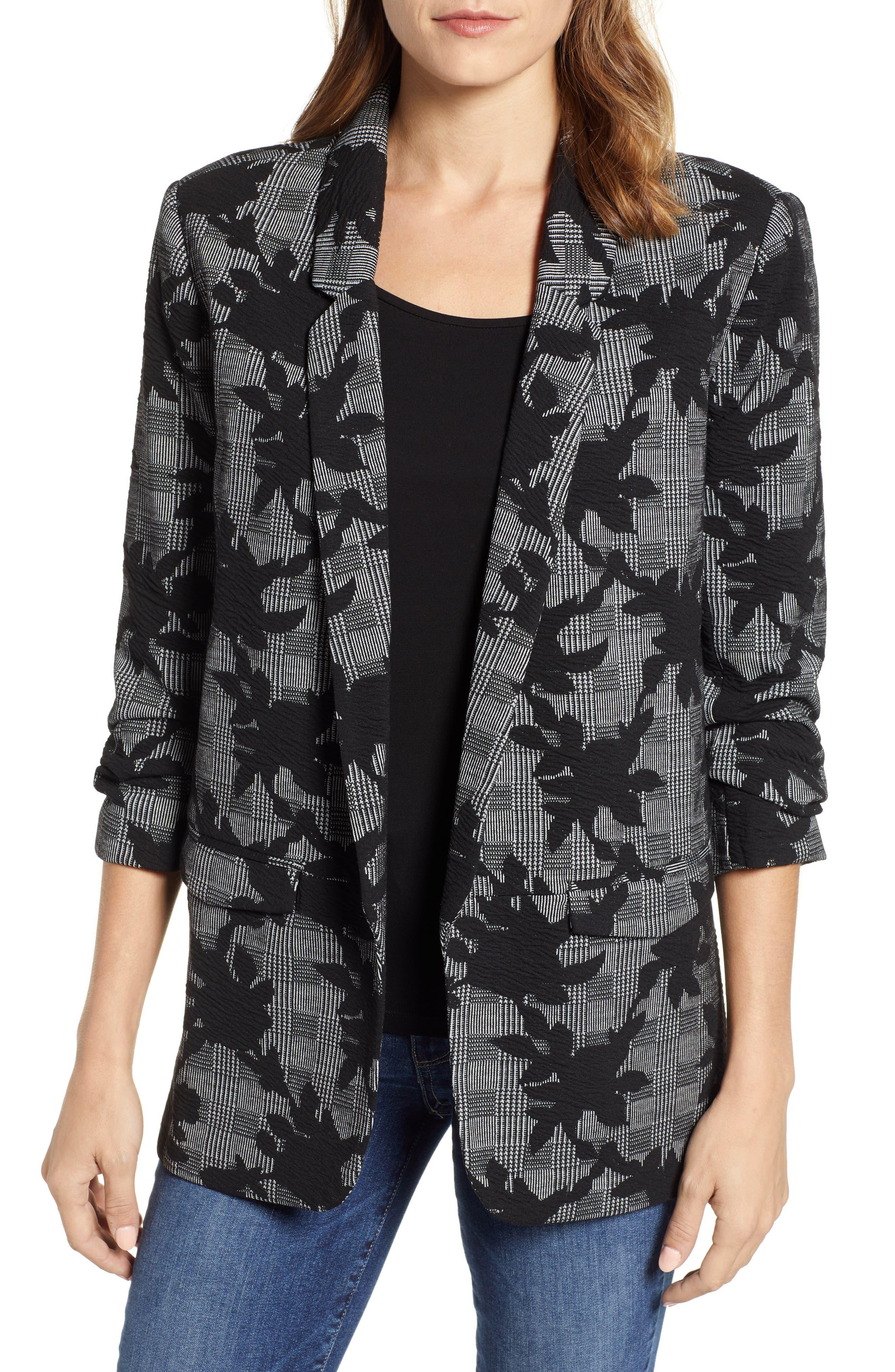 Floral Plaid Jacket,                             Main thumbnail 1, color,                             BLACK/ GREY
