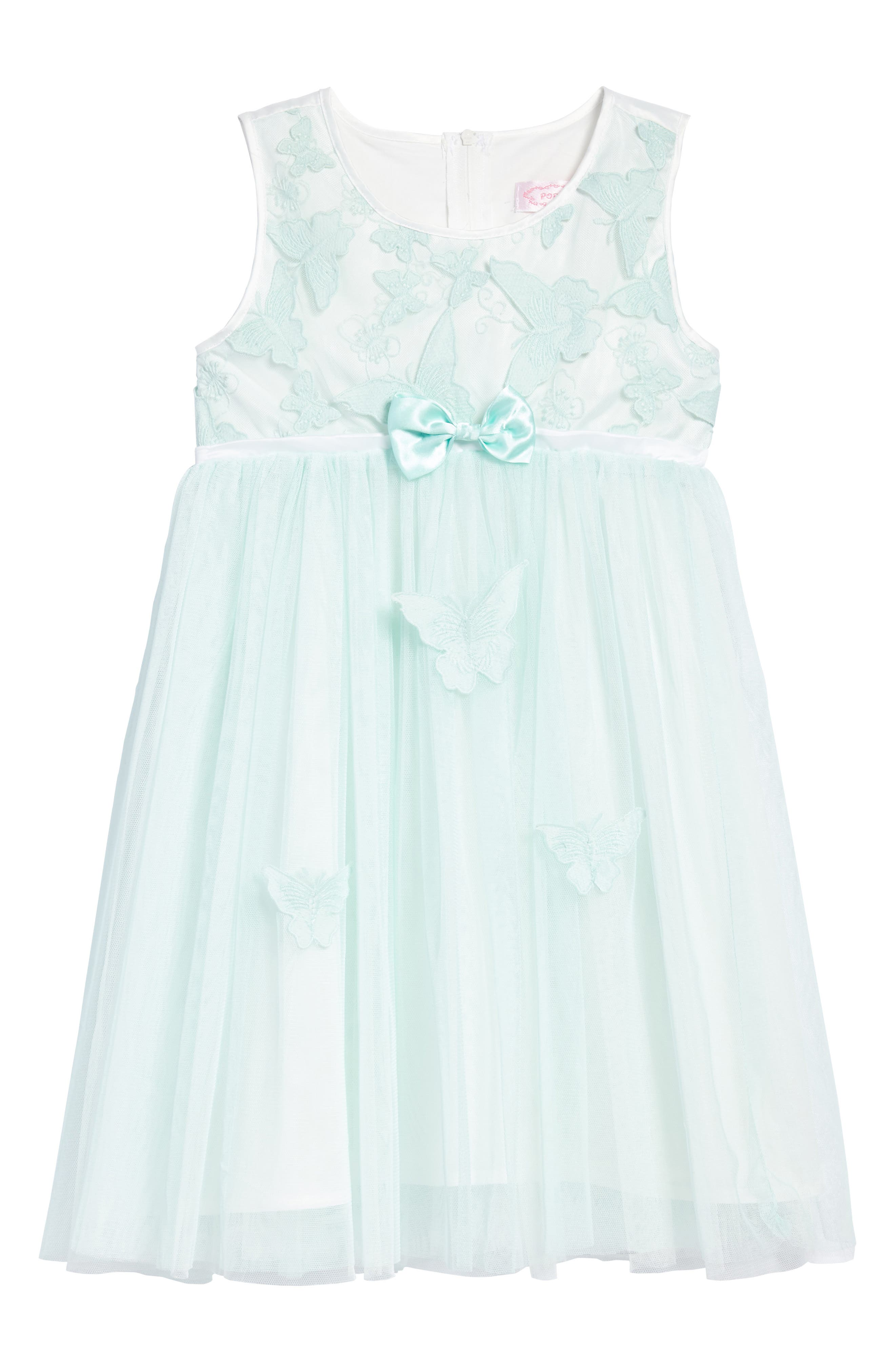 Butterfly Appliqué Tulle Dress,                             Main thumbnail 1, color,                             MINT