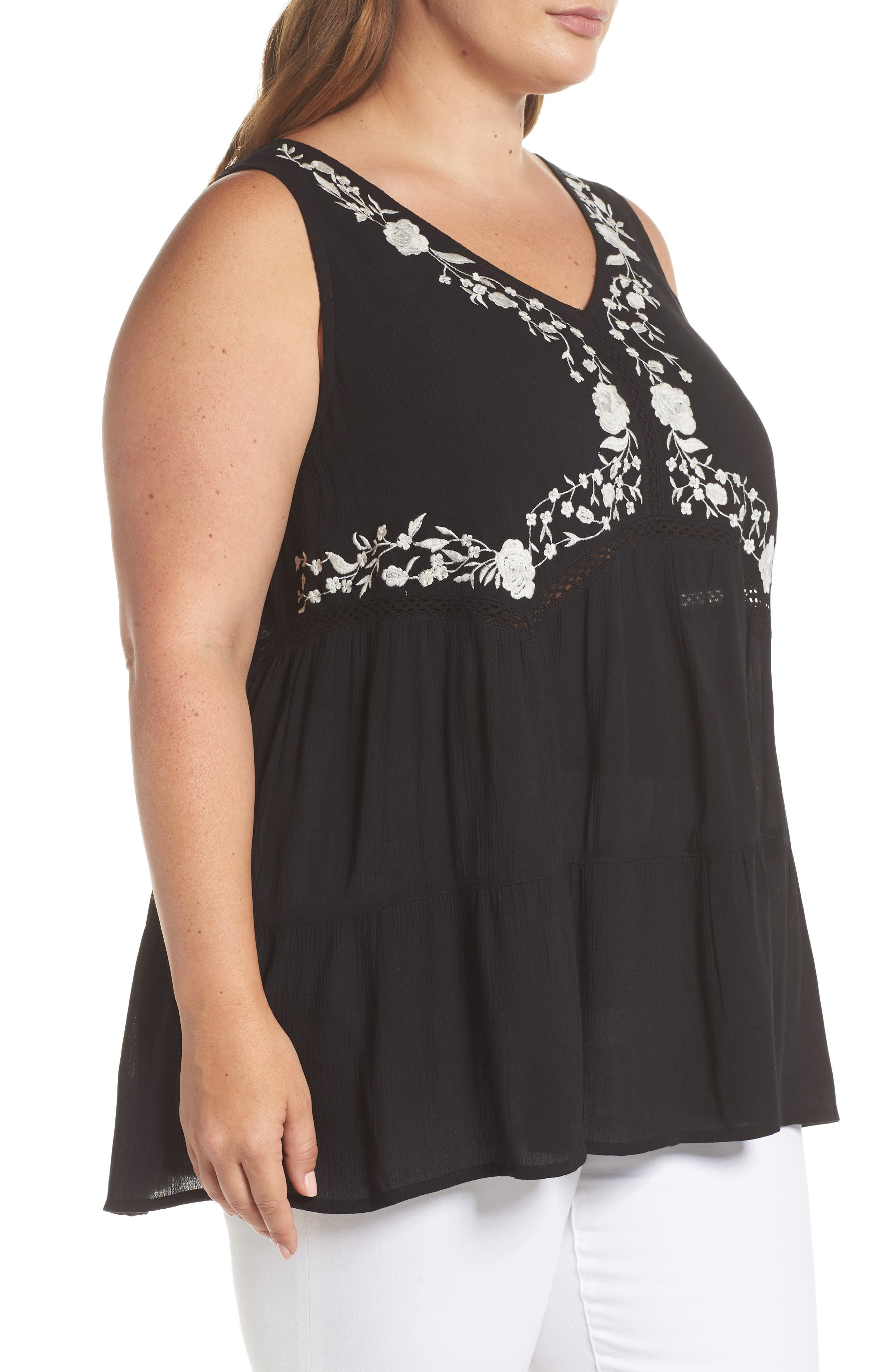 ANGIE,                             Embroidered Woven Tank,                             Alternate thumbnail 3, color,                             001