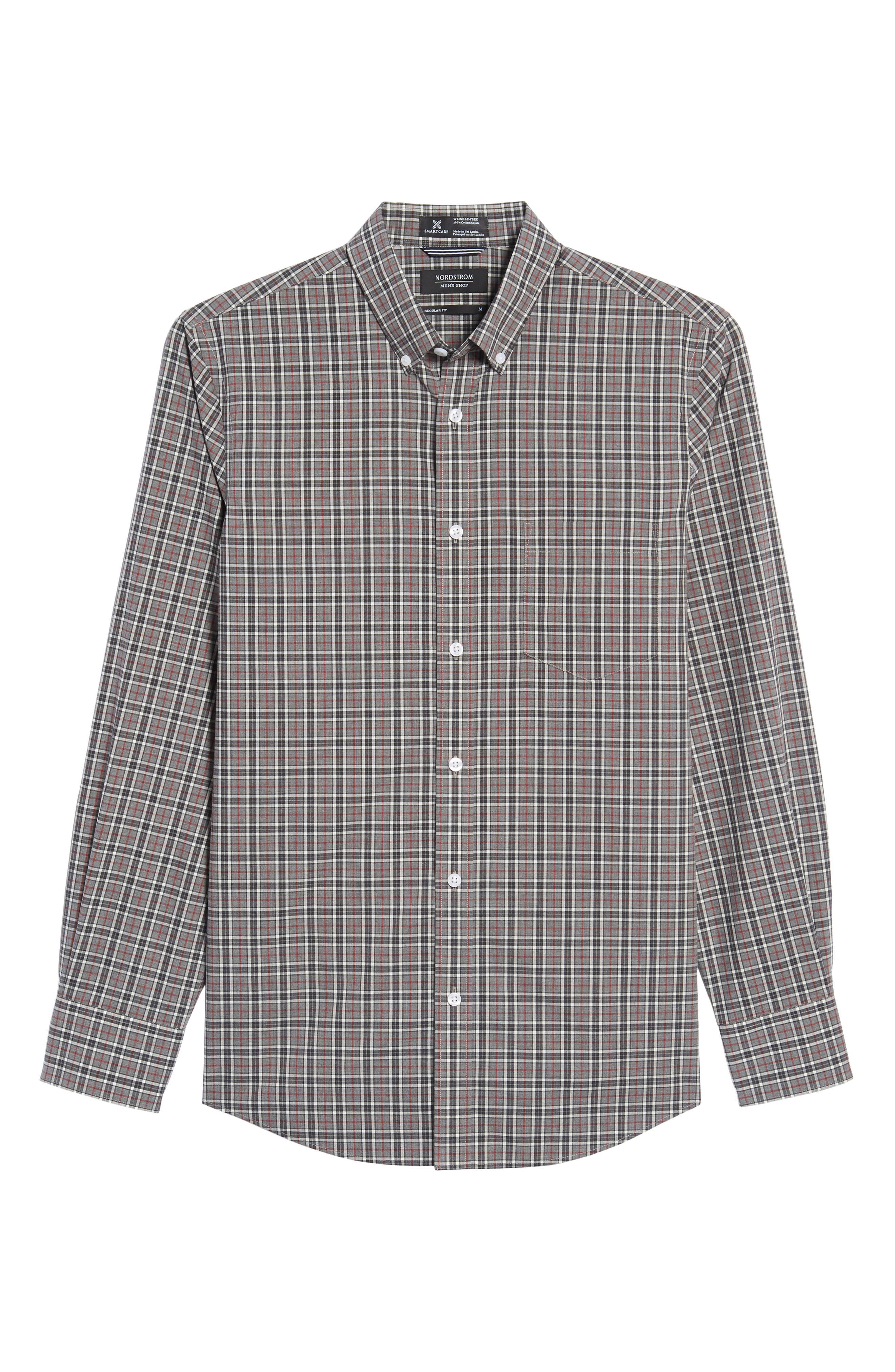 Smartcare<sup>™</sup> Regular Fit Plaid Sport Shirt,                             Alternate thumbnail 6, color,                             030