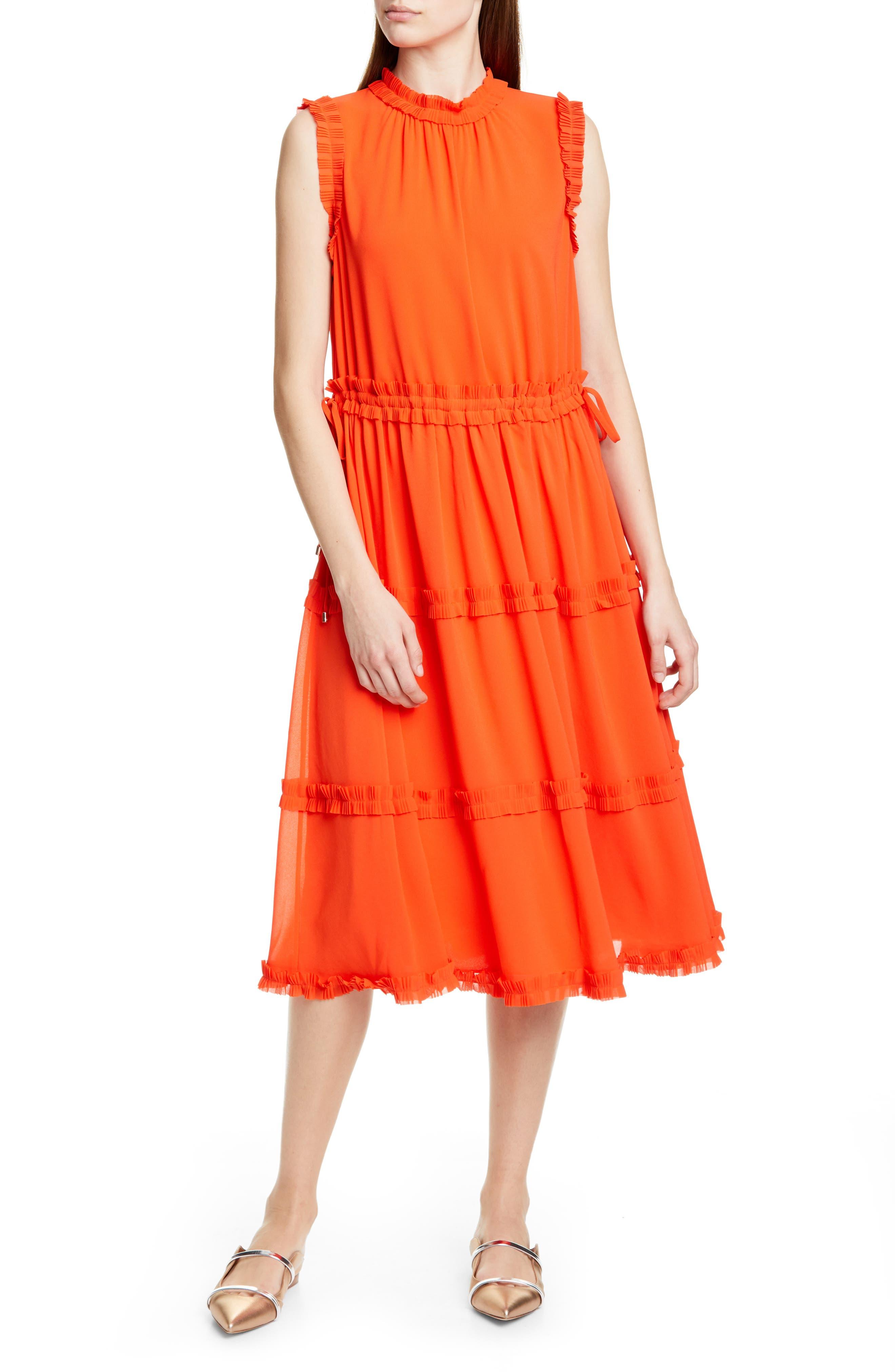 Ted Baker London Sinita Tie Waist Midi Dress, Orange