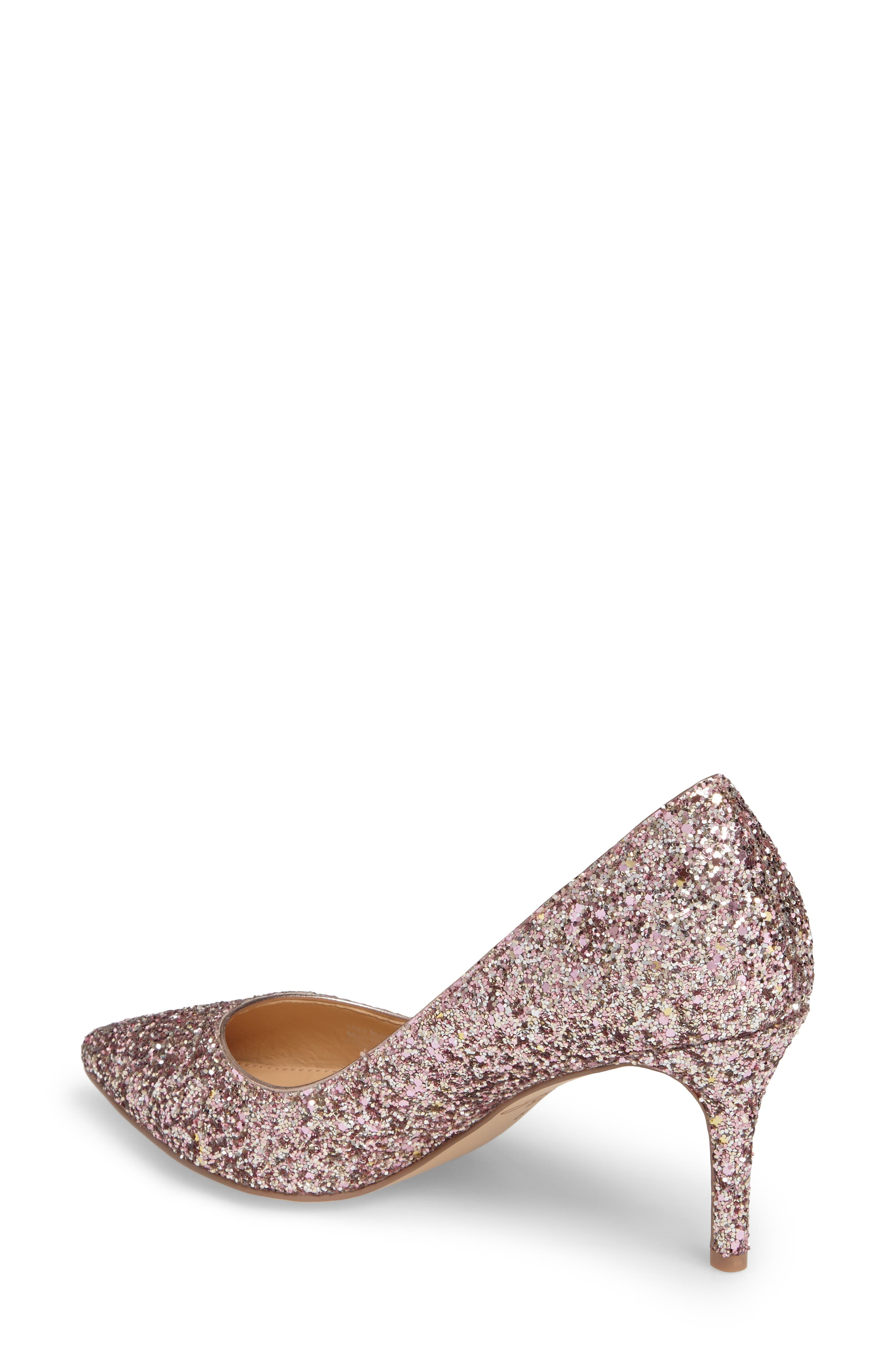 Lyla Glitter Pointy Toe Pump,                             Alternate thumbnail 2, color,                             ROSE GOLD