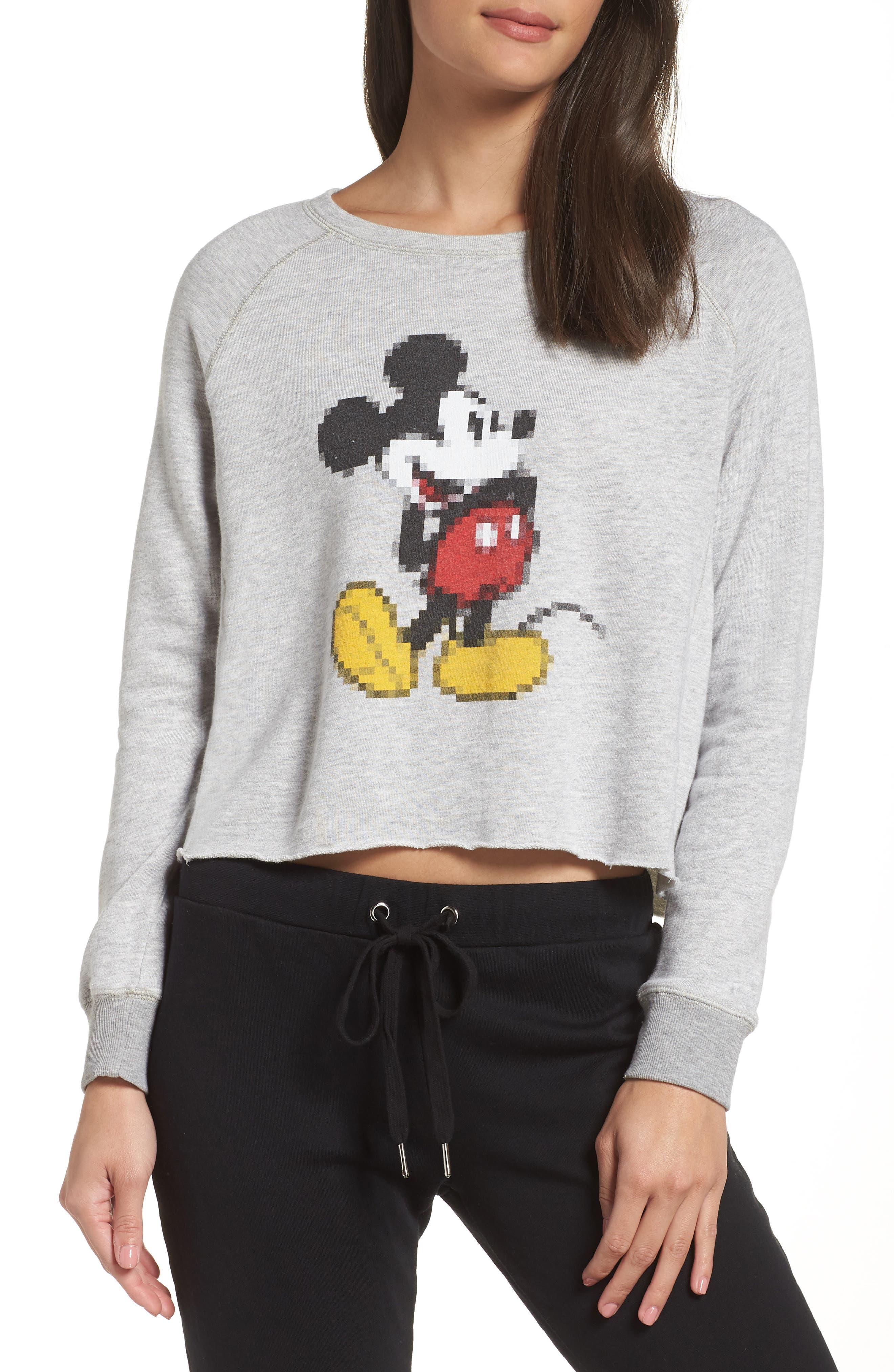 DAVID LERNER Disney Mickey Pixel Sweatshirt in Heather Grey/ Hea