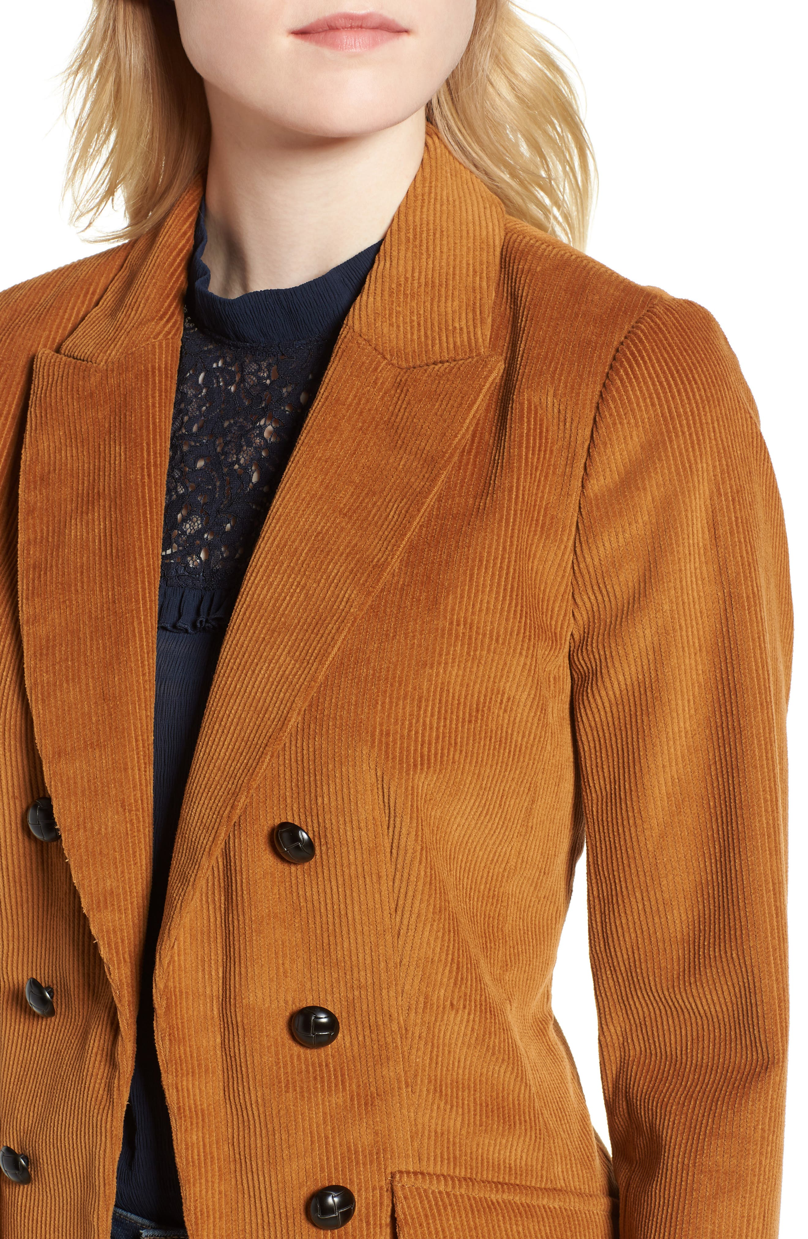 Double Breasted Corduroy Blazer,                             Alternate thumbnail 4, color,                             200
