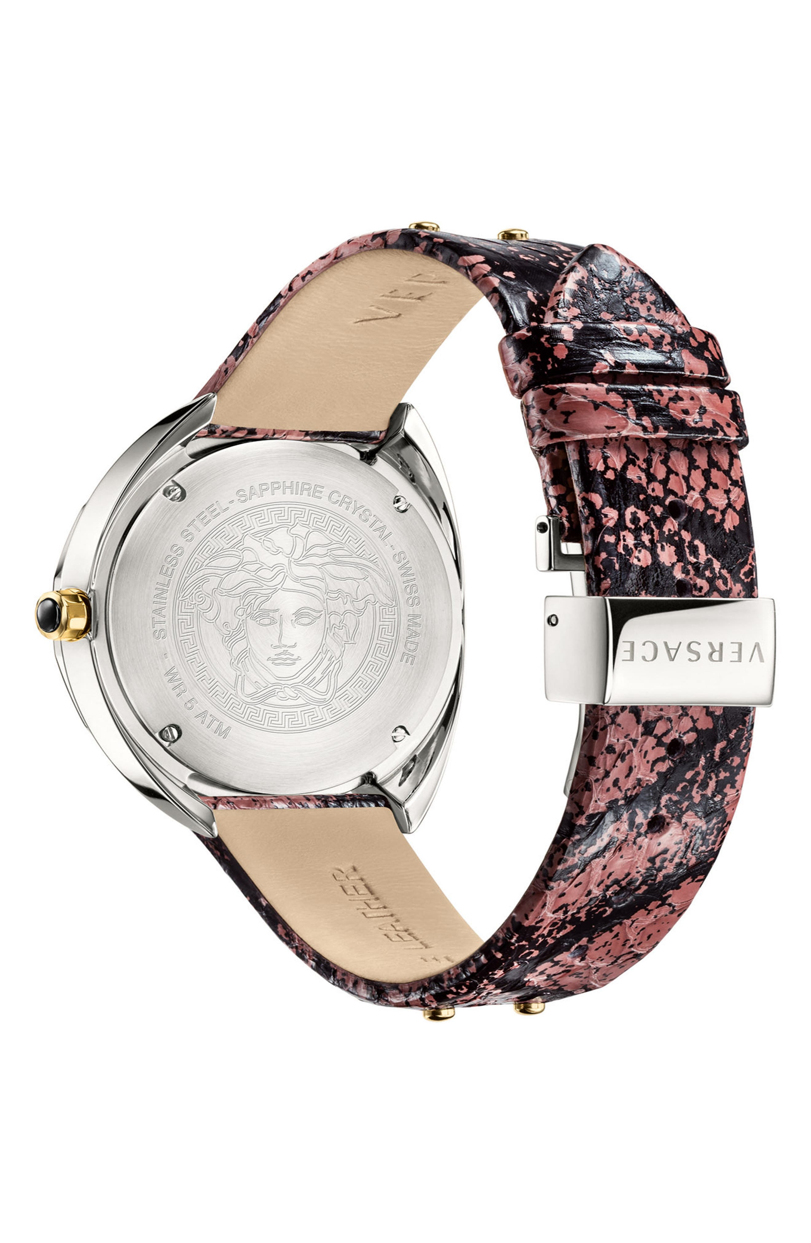 Shadov Snakeskin Leather Strap Watch, 38mm,                             Alternate thumbnail 2, color,                             PINK/ SILVER