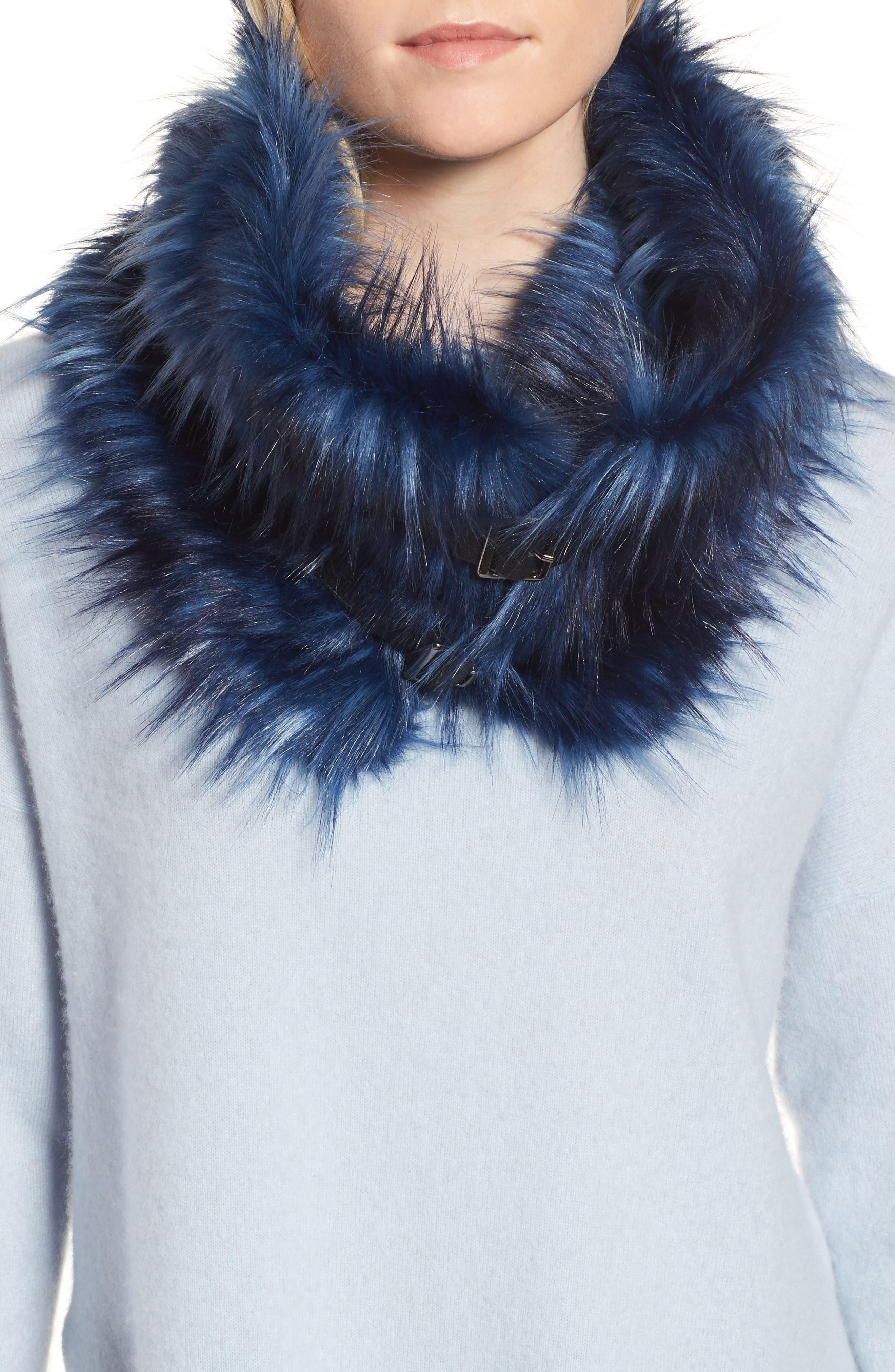 Buckled Faux Fur Cowl Scarf,                             Main thumbnail 2, color,