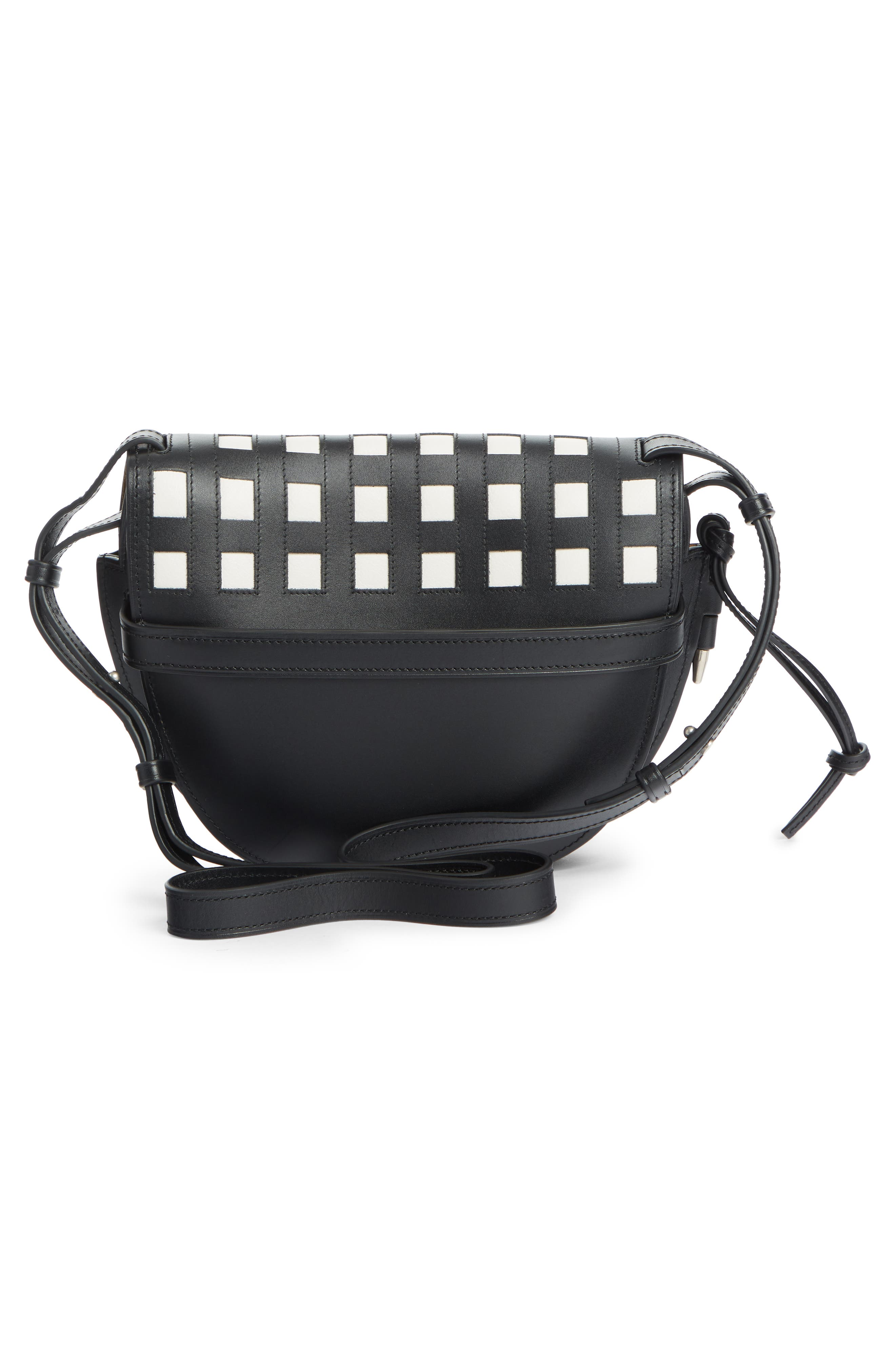 Small Gate Grid Leather Crossbody Bag,                             Alternate thumbnail 2, color,                             BLACK/ WHITE