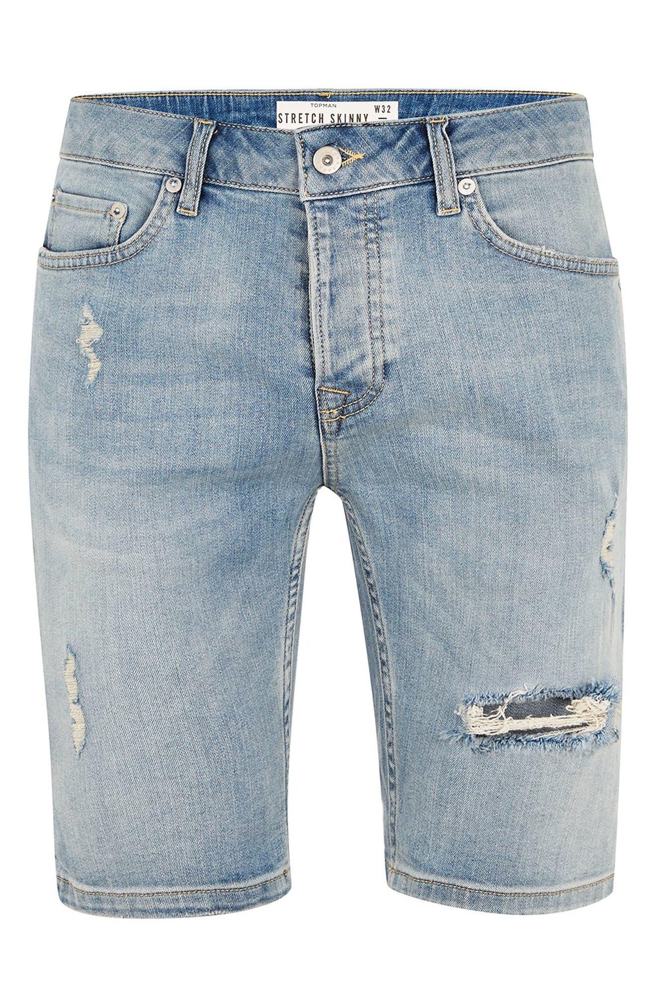 Bleach Ripped Skinny Denim Shorts,                             Alternate thumbnail 4, color,                             400