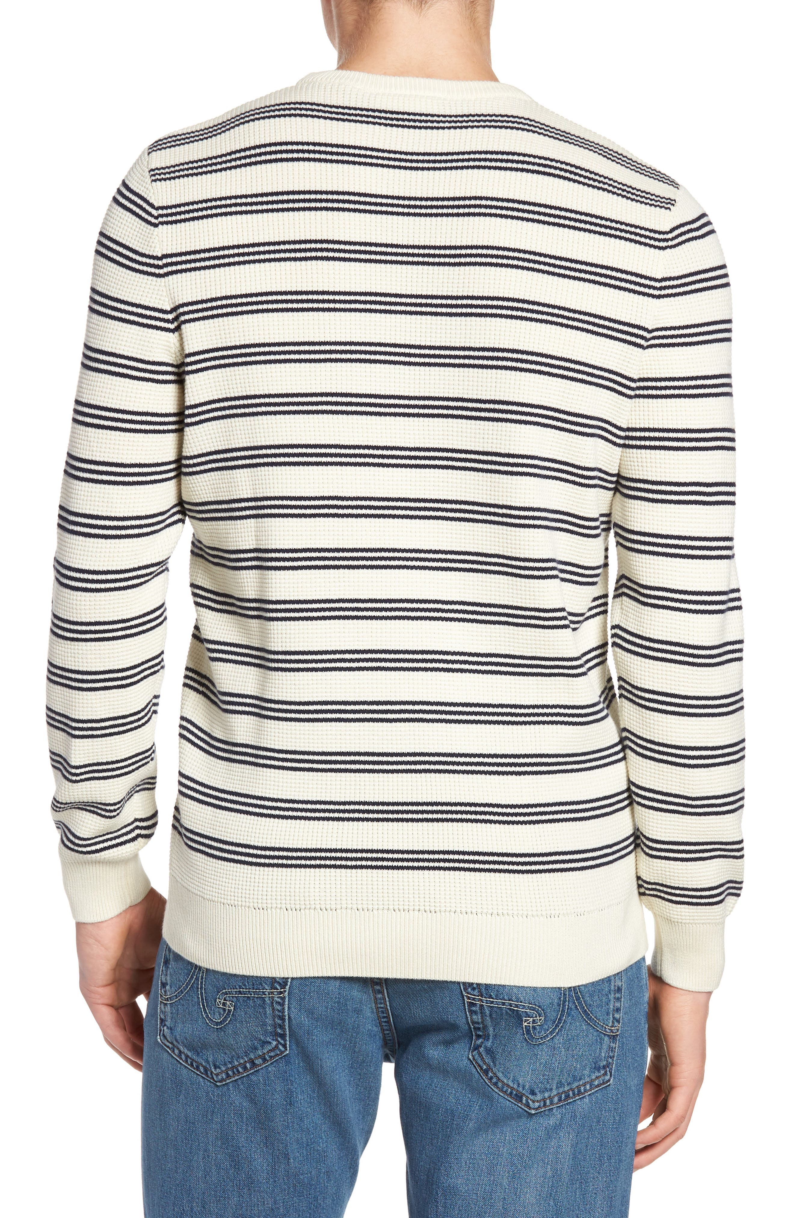 Waffle Stitch Stripe Sweater,                             Alternate thumbnail 2, color,                             028