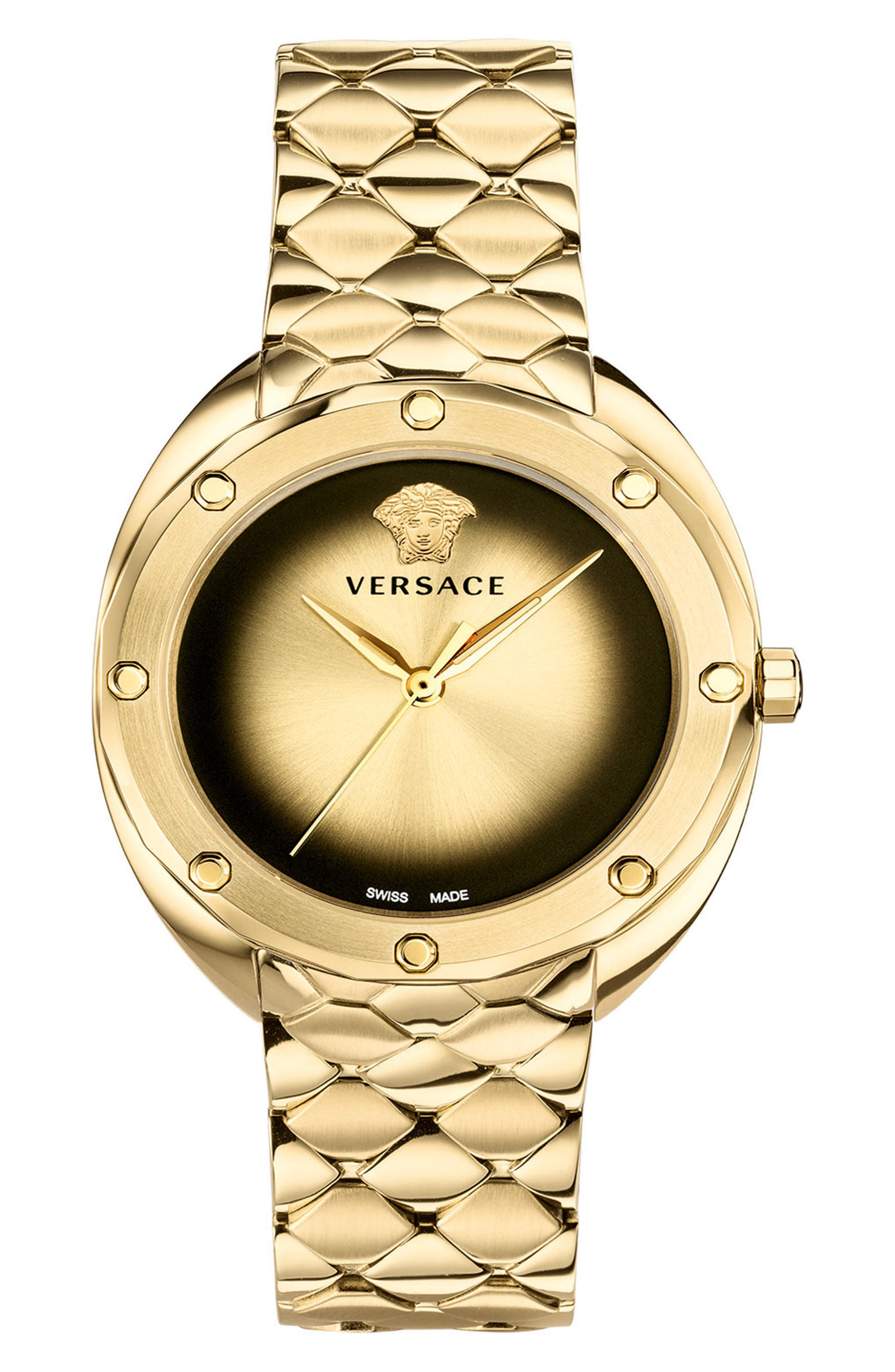 VERSACE Shadov Bracelet Watch, 38mm, Main, color, GOLD