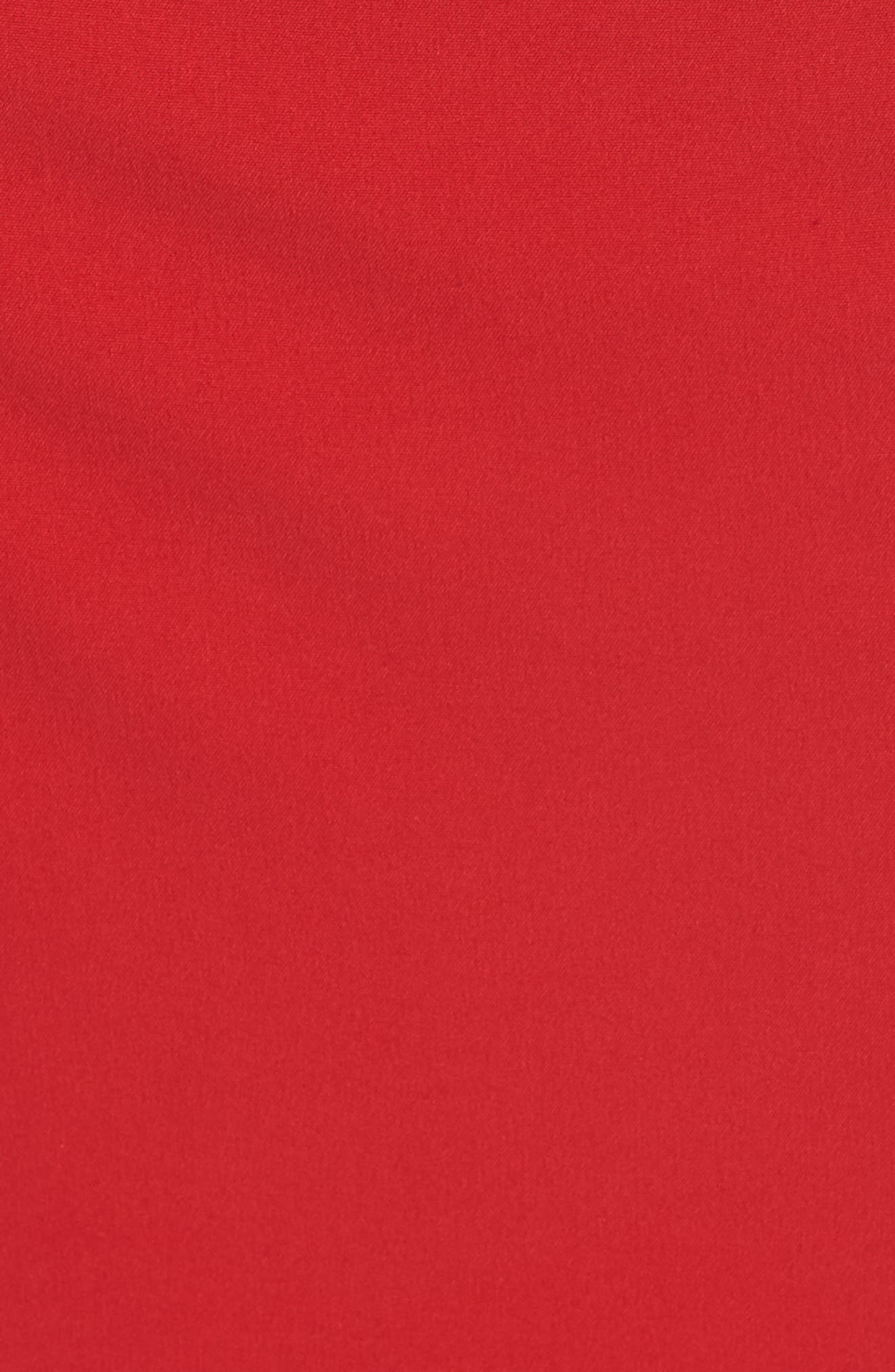Side Pleat Crossneck Gown,                             Alternate thumbnail 5, color,                             RED