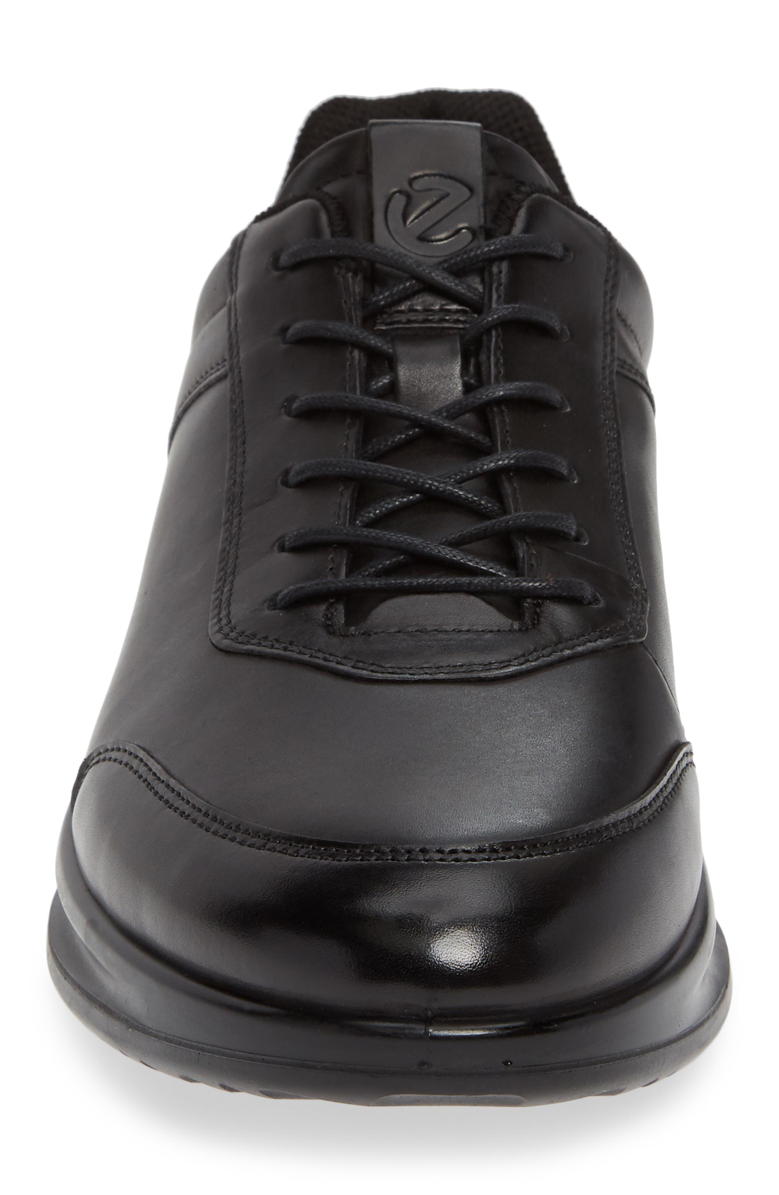 Aquet Low Top Sneaker,                             Alternate thumbnail 4, color,                             BLACK LEATHER