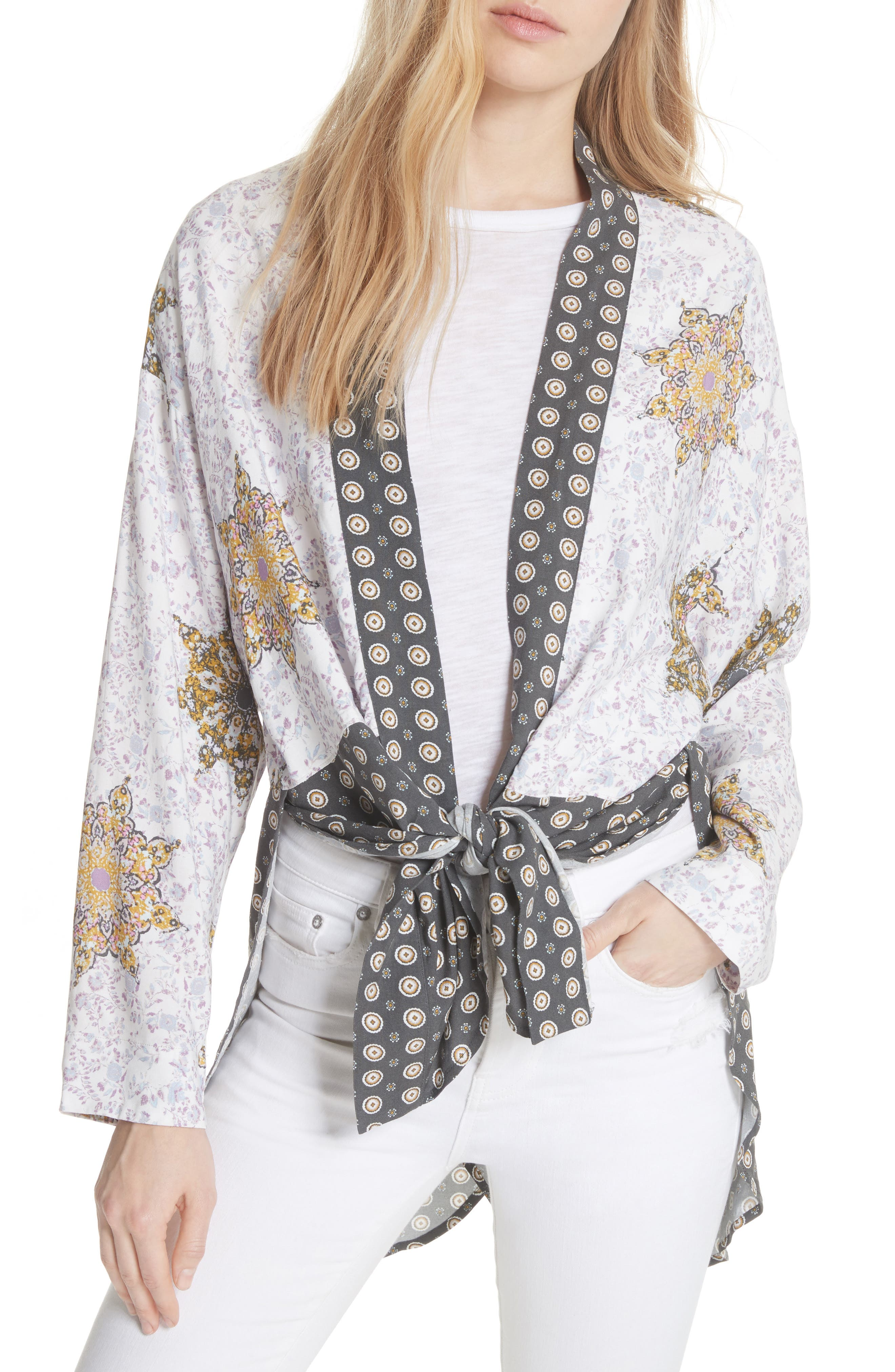 Forget Me Knot Tie Front Kimono,                             Main thumbnail 2, color,