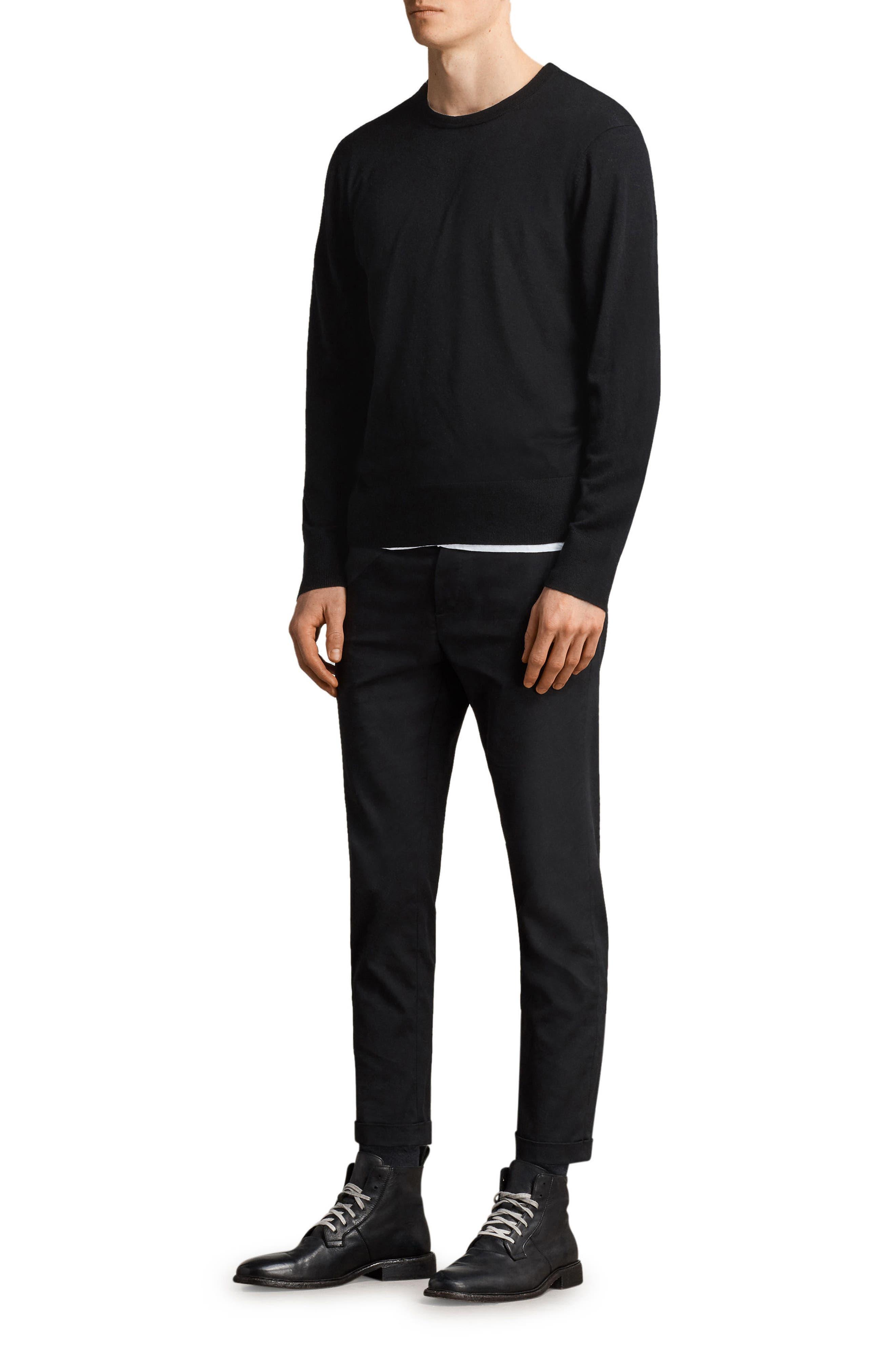 Lang Crewneck Wool Sweater,                             Alternate thumbnail 4, color,                             001