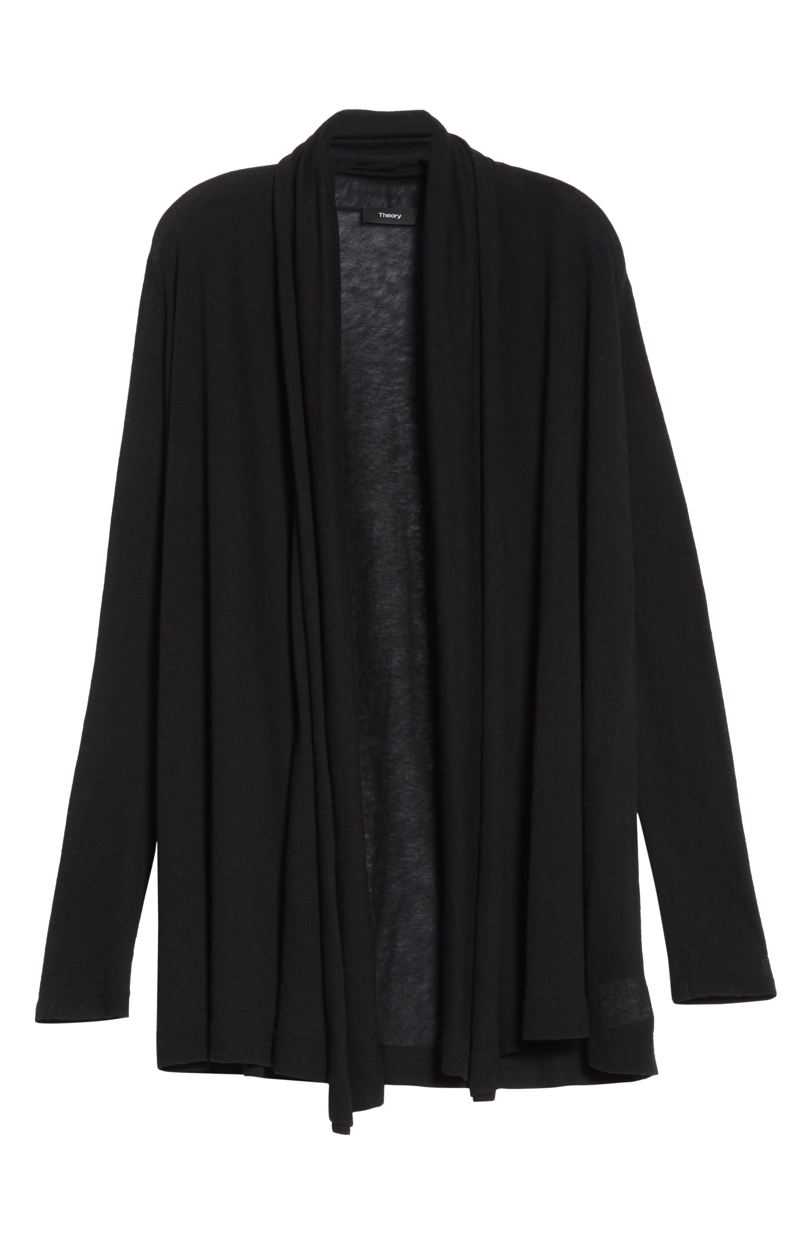 THEORY,                             Featherweight Cashmere Cardigan,                             Alternate thumbnail 6, color,                             001