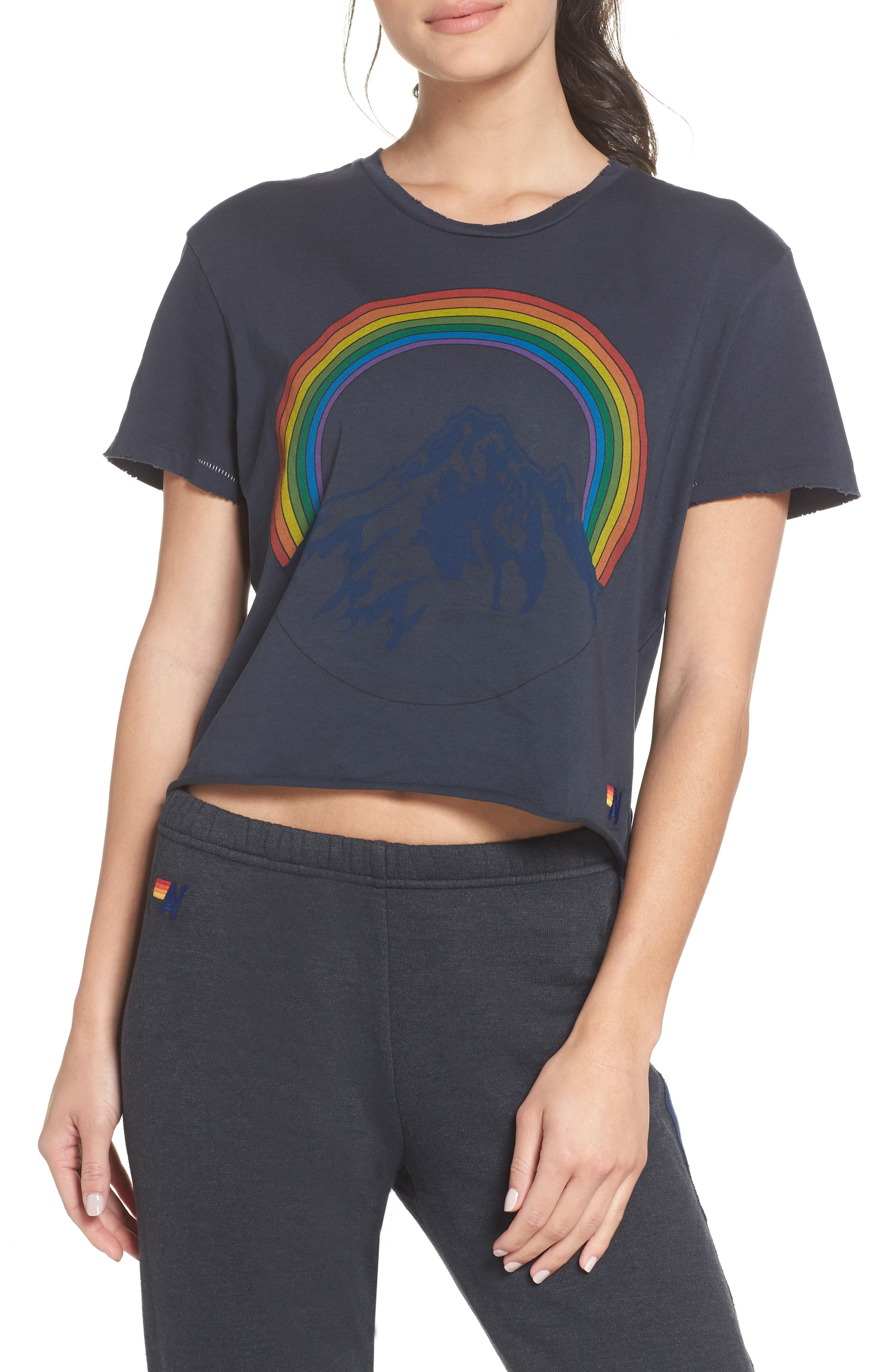 Mountain Rainbow Tee,                             Main thumbnail 1, color,                             CHARCOAL
