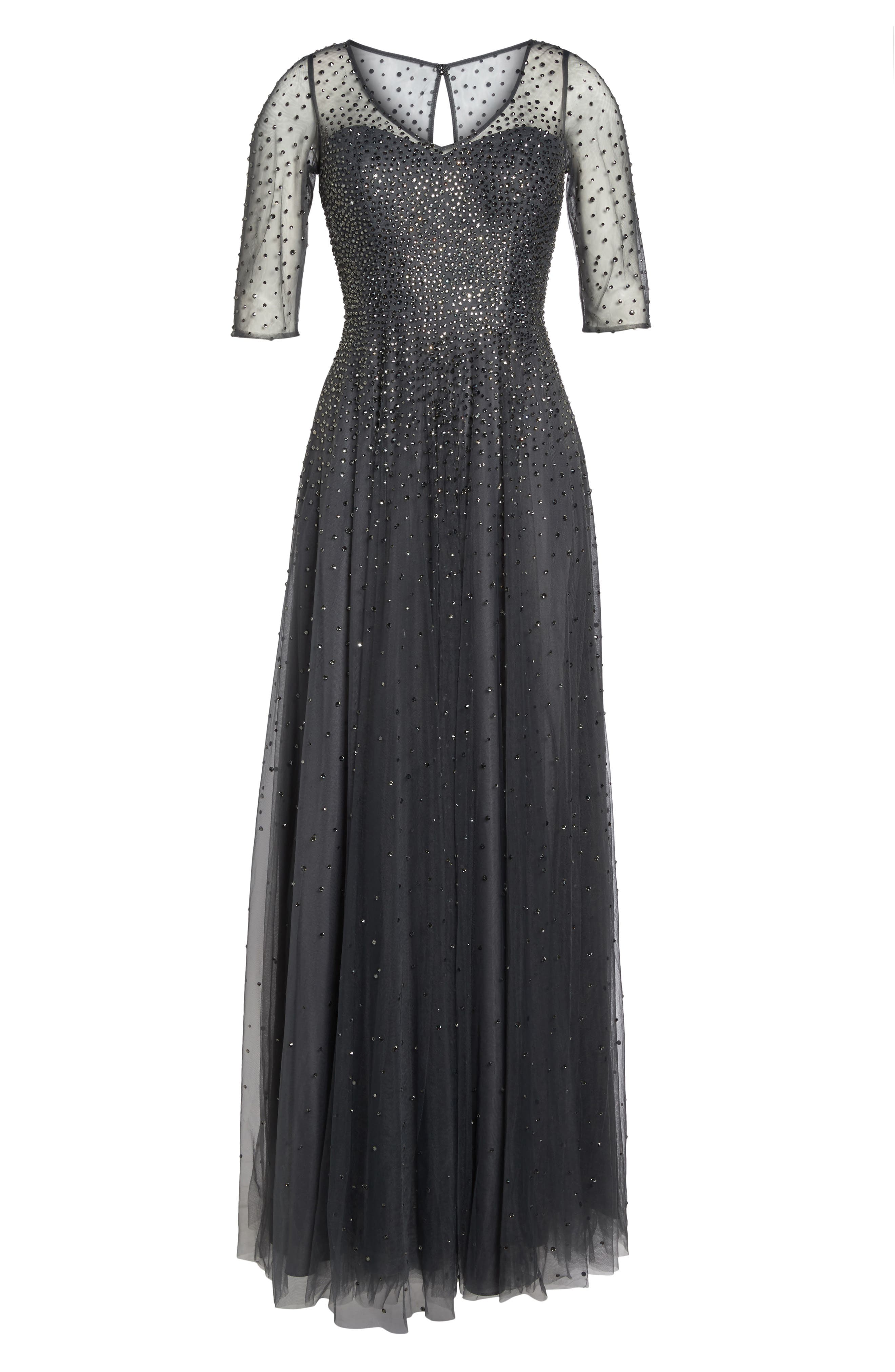 Waterfall Embellished Gown,                             Alternate thumbnail 6, color,                             GUNMETAL