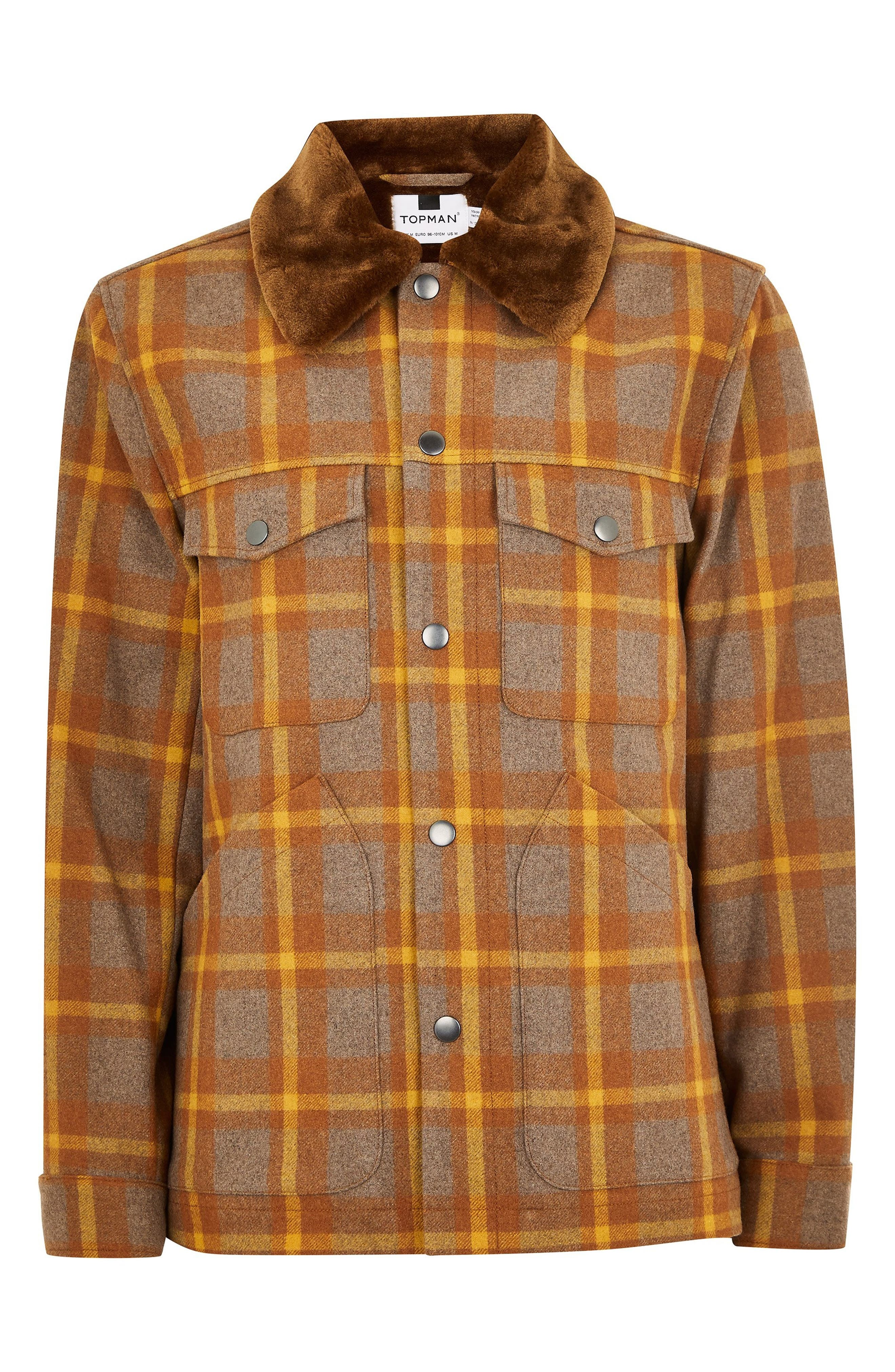 Borg Lined Classic Wool Jacket,                             Alternate thumbnail 4, color,                             BROWN MULTI