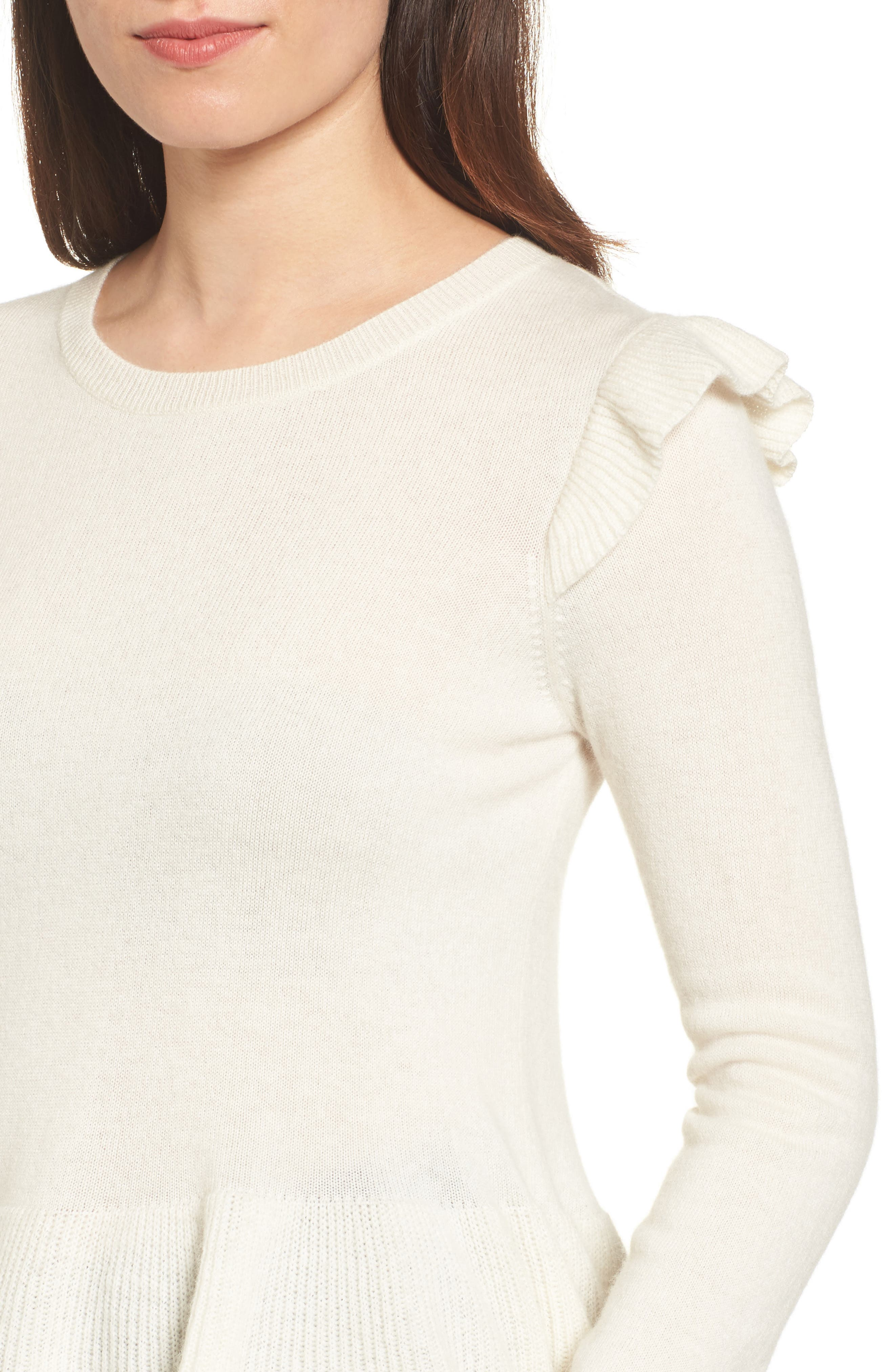 Regina Ruffle Wool & Cashmere Sweater,                             Alternate thumbnail 4, color,                             100