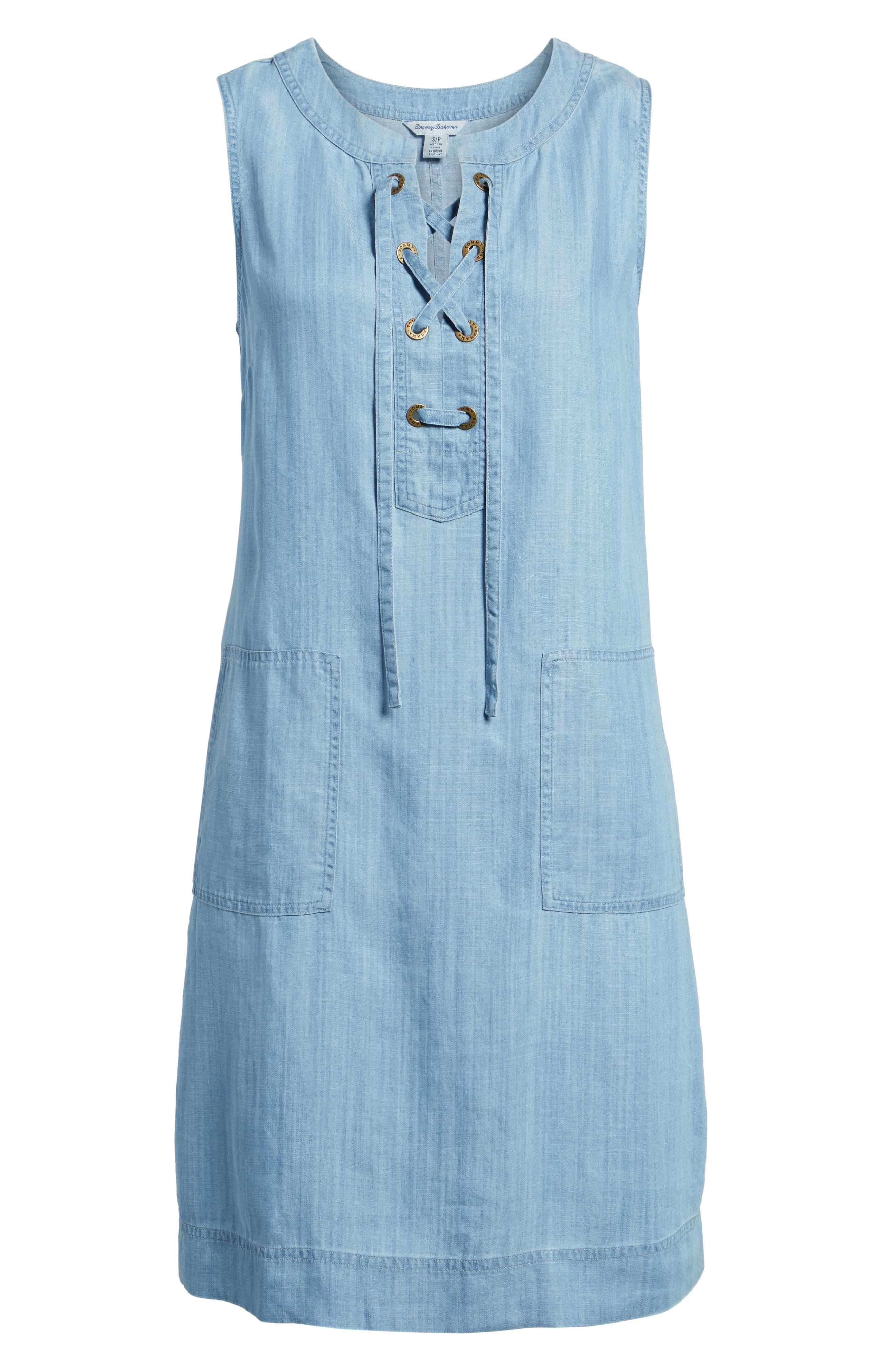 Lace-Up Chambray Shift Dress,                             Alternate thumbnail 6, color,                             400
