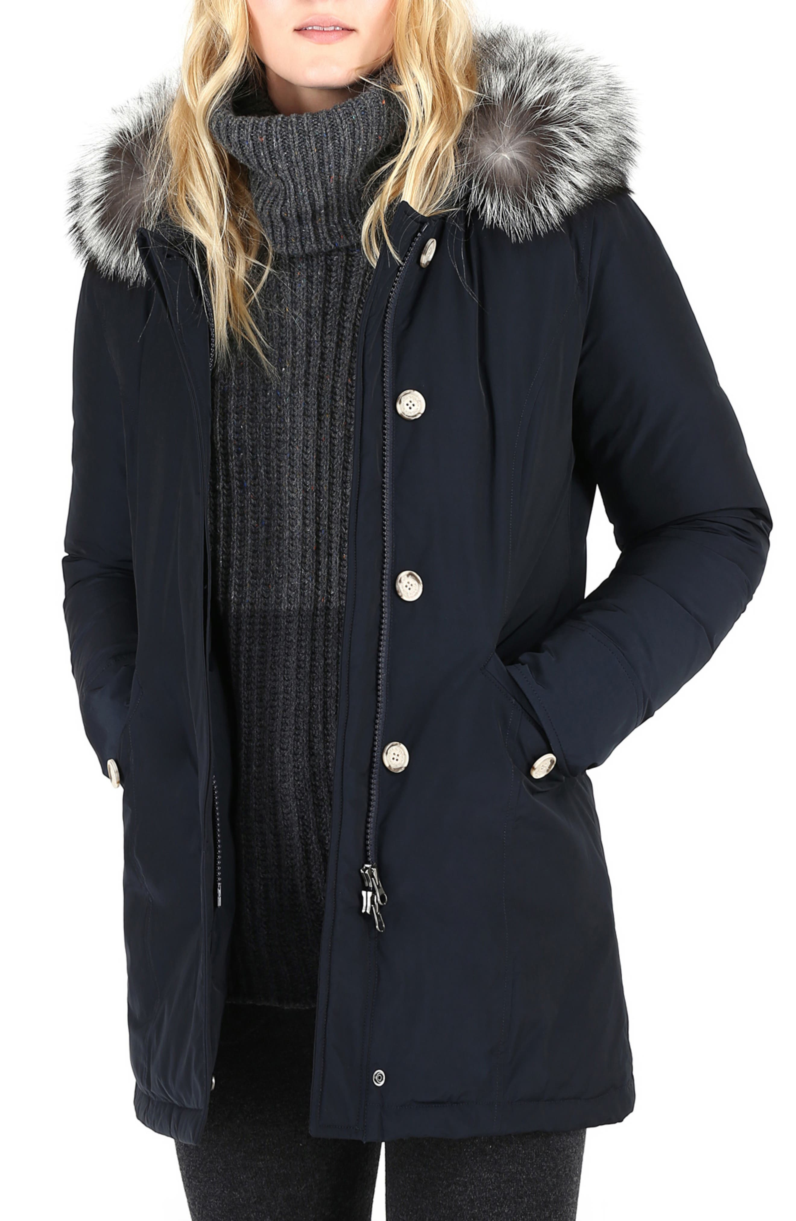 Luxury Arctic Down Parka with Genuine Fox Fur Trim,                             Main thumbnail 1, color,                             MIDNIGHT BLUE