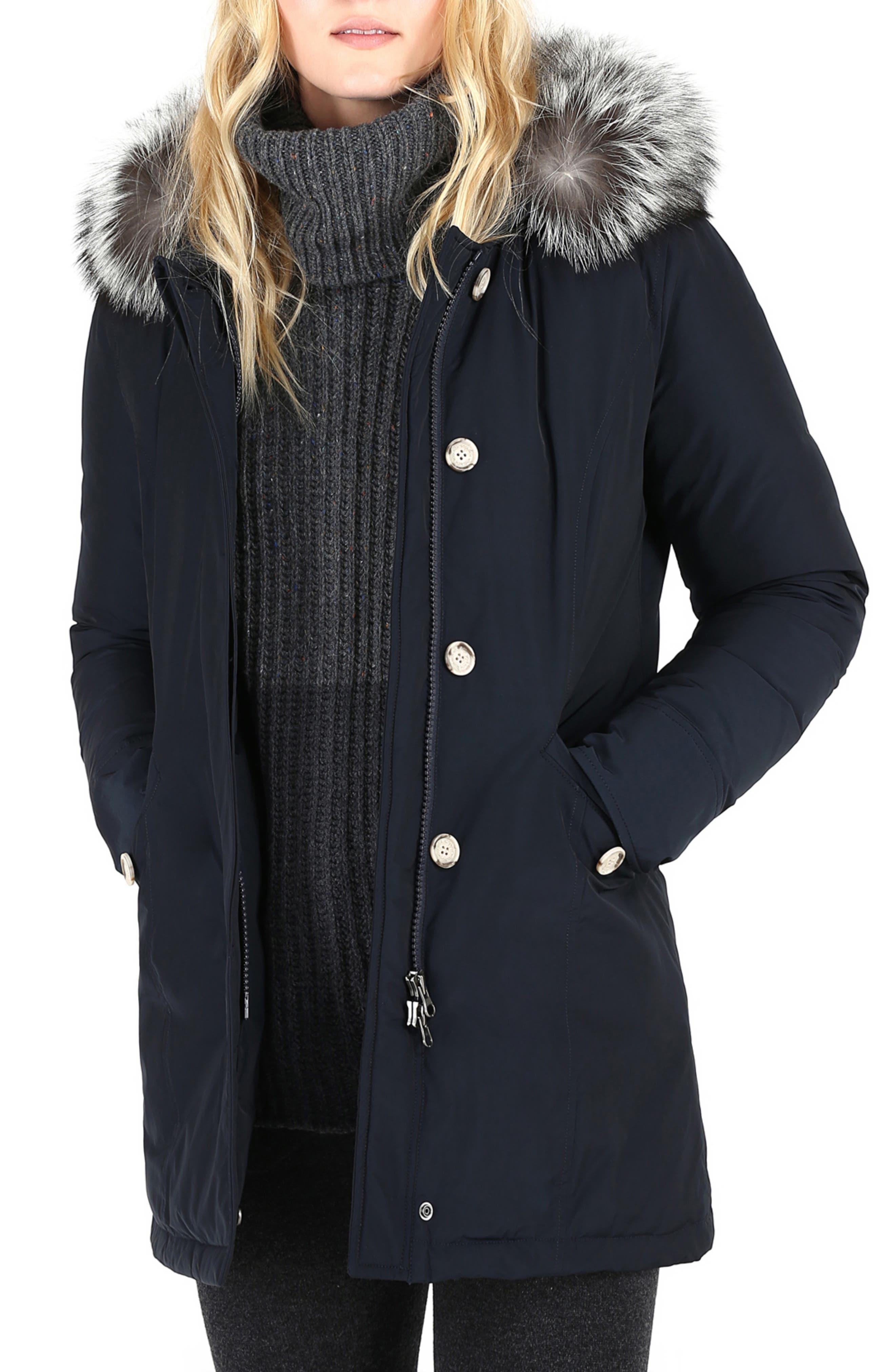 Luxury Arctic Down Parka with Genuine Fox Fur Trim,                         Main,                         color, MIDNIGHT BLUE