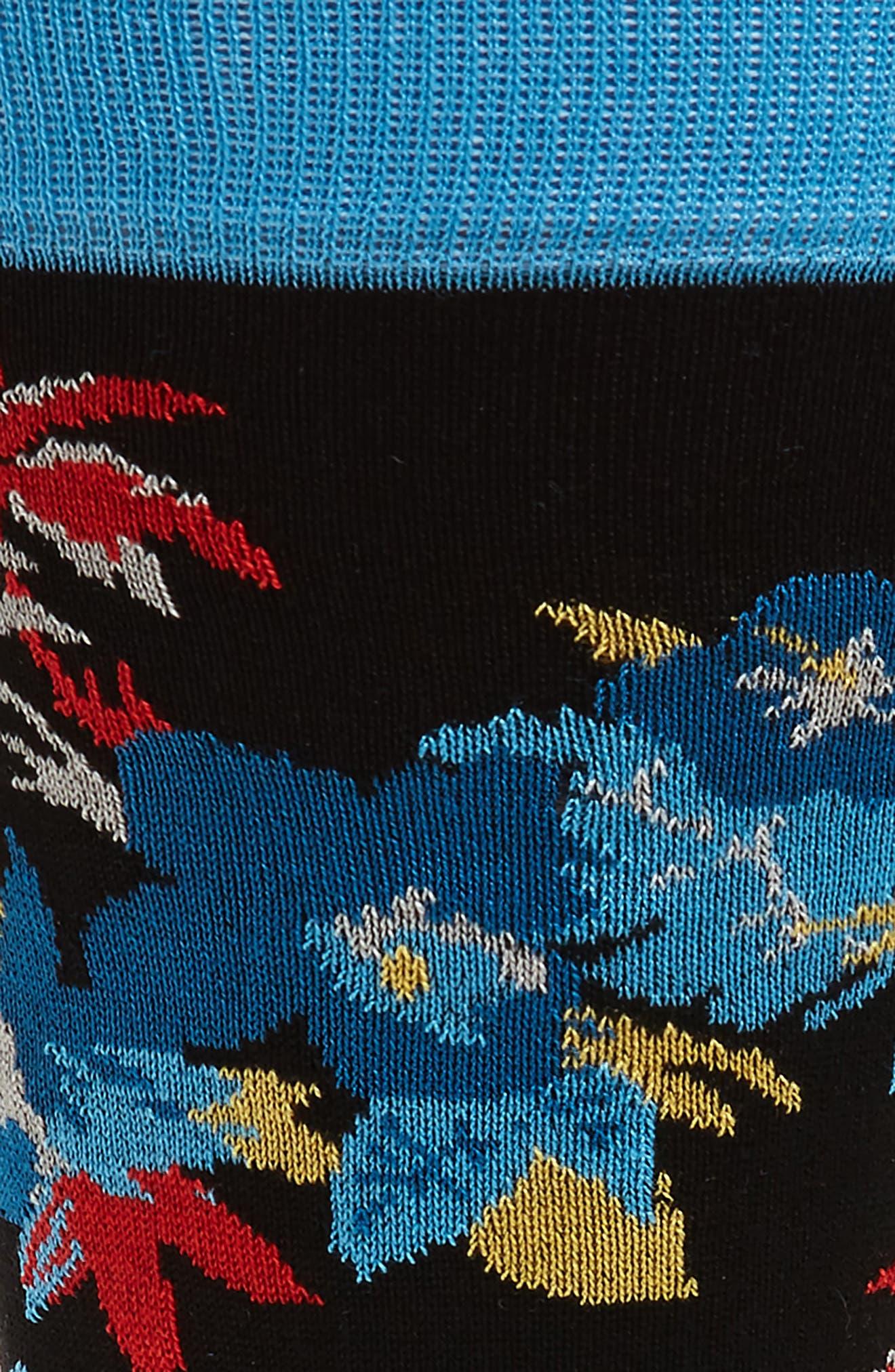 BUGATCHI,                             Floral Mercerized Cotton Blend Socks,                             Alternate thumbnail 2, color,                             001
