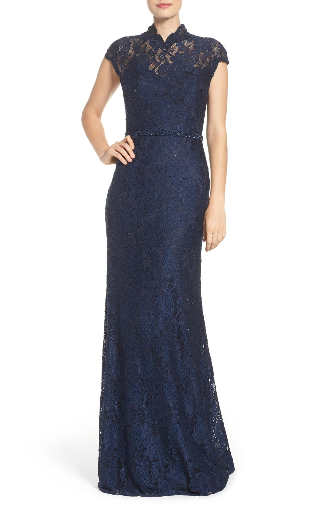 Embellished Lace Gown,                             Main thumbnail 1, color,                             NAVY