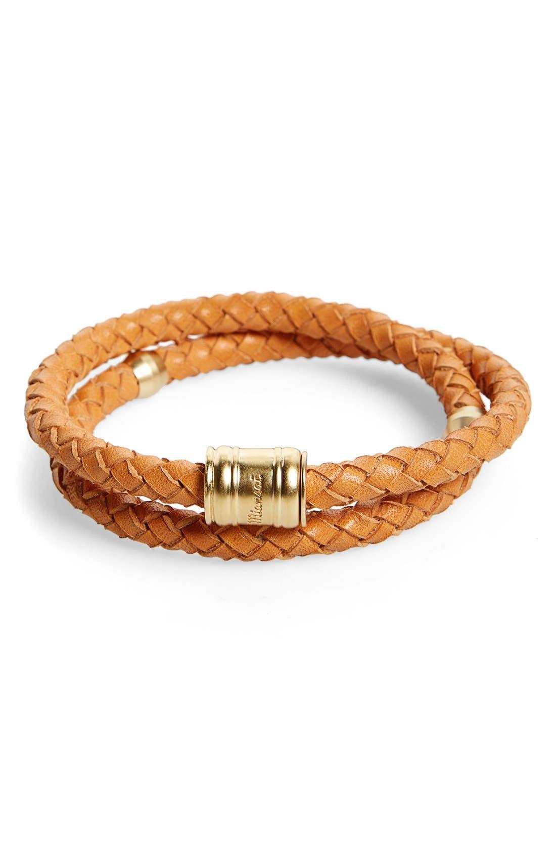 Braided Leather Bracelet,                             Main thumbnail 7, color,
