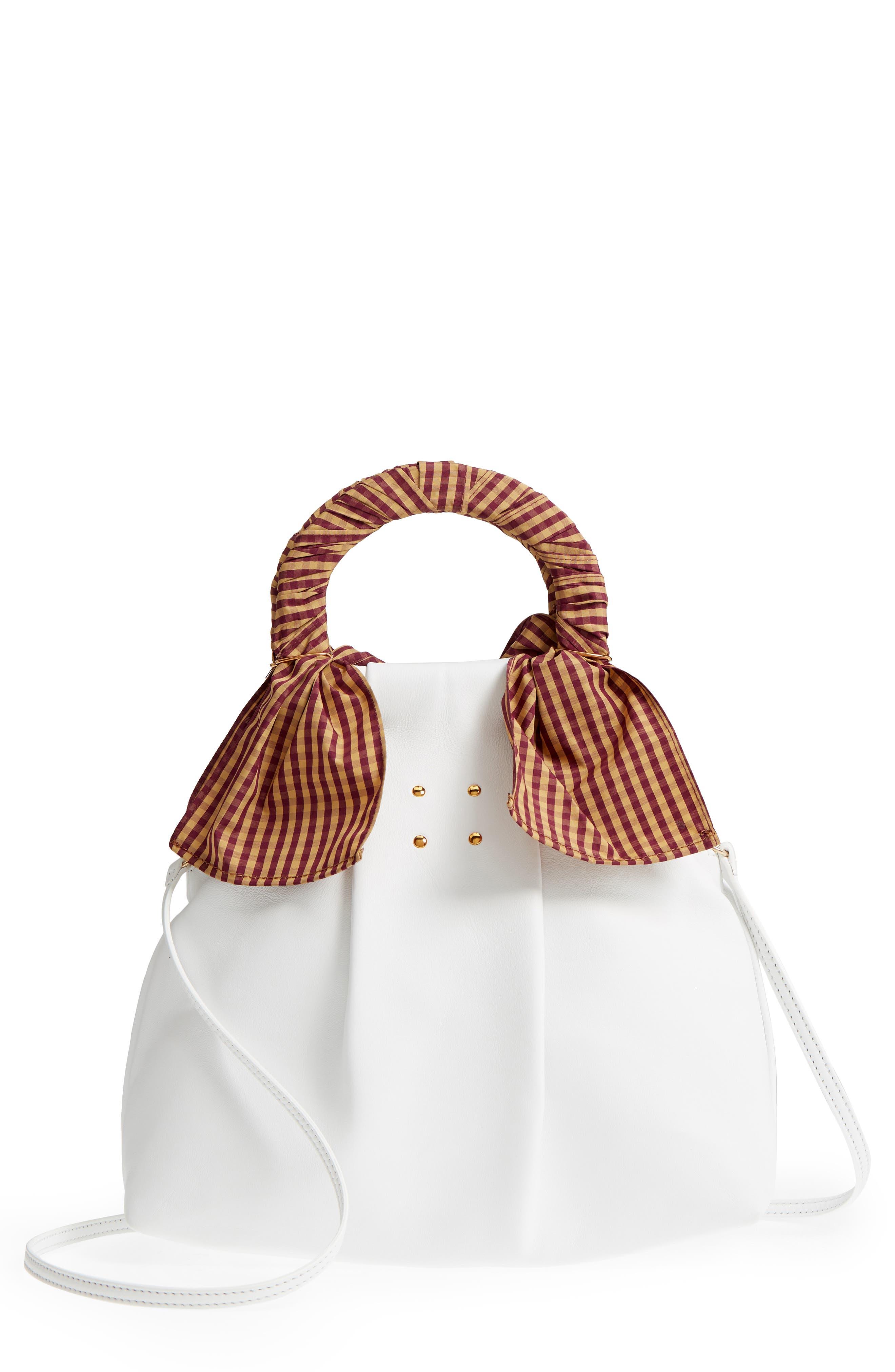 Hazel Leather Shopper,                         Main,                         color, WHITE