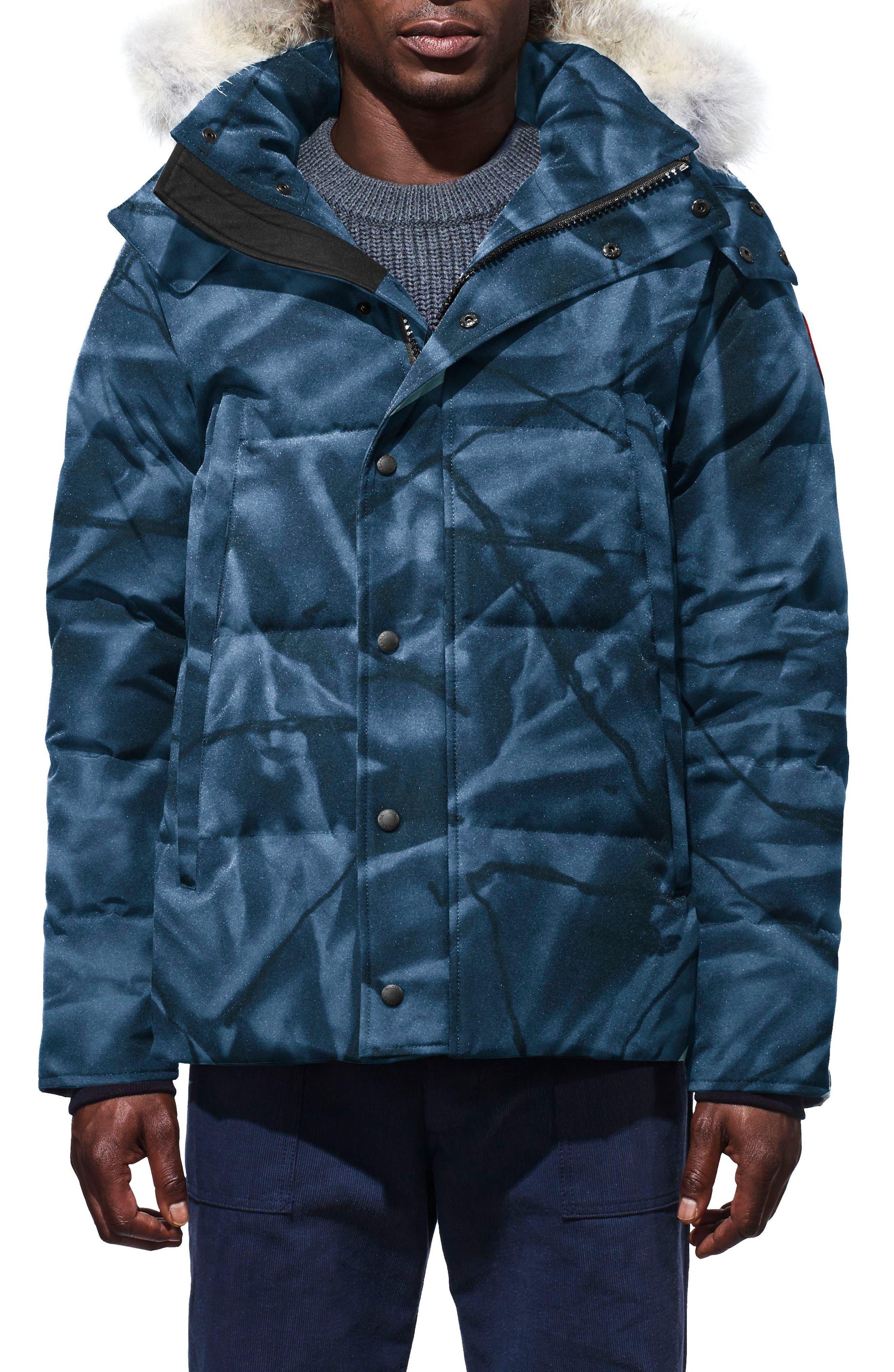 Canada Goose Wyndham Slim Fit Genuine Coyote Fur Trim Down Jacket, Blue