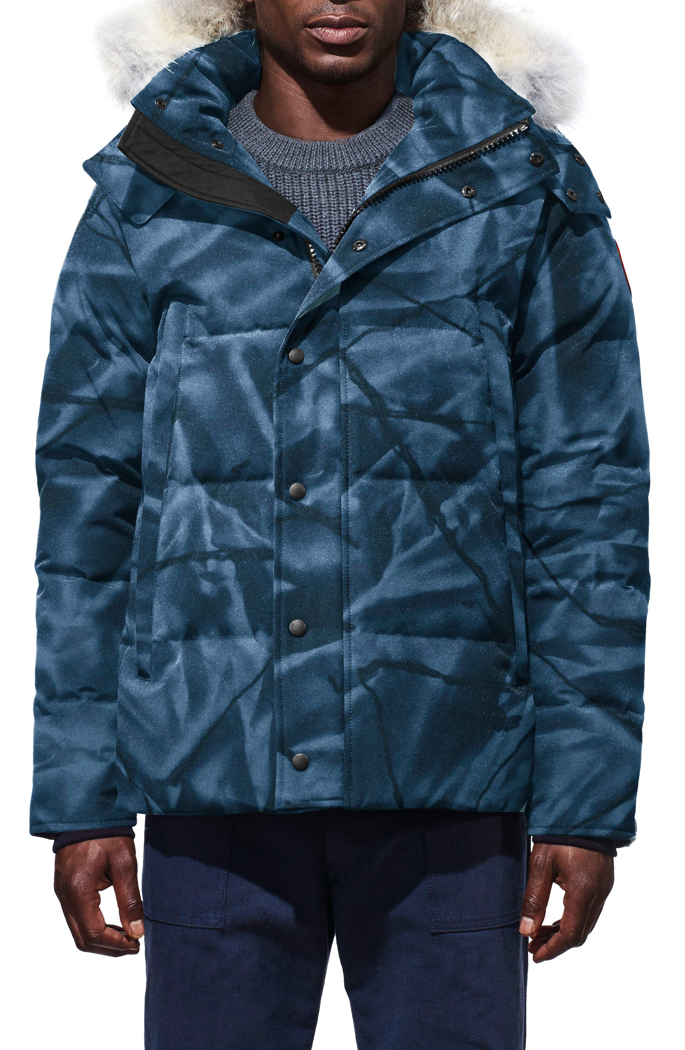 Wyndham Slim Fit Genuine Coyote Fur Trim Down Jacket,                             Main thumbnail 1, color,                             BLUE ABSTRACT CAMO