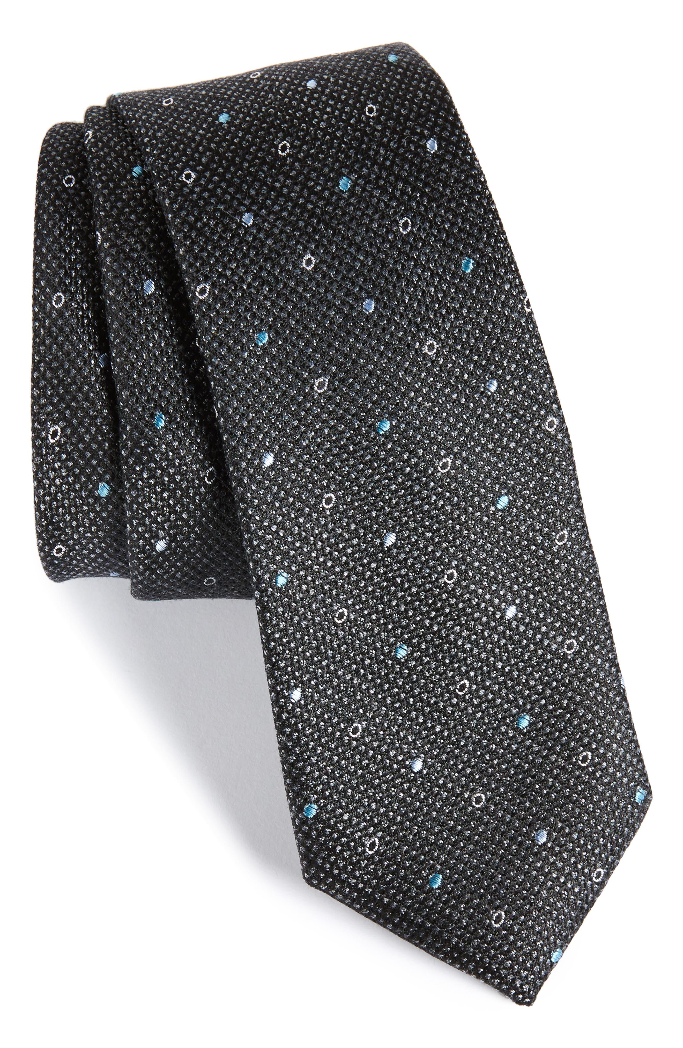Brubeck Neat Silk Blend Tie,                             Main thumbnail 1, color,                             001