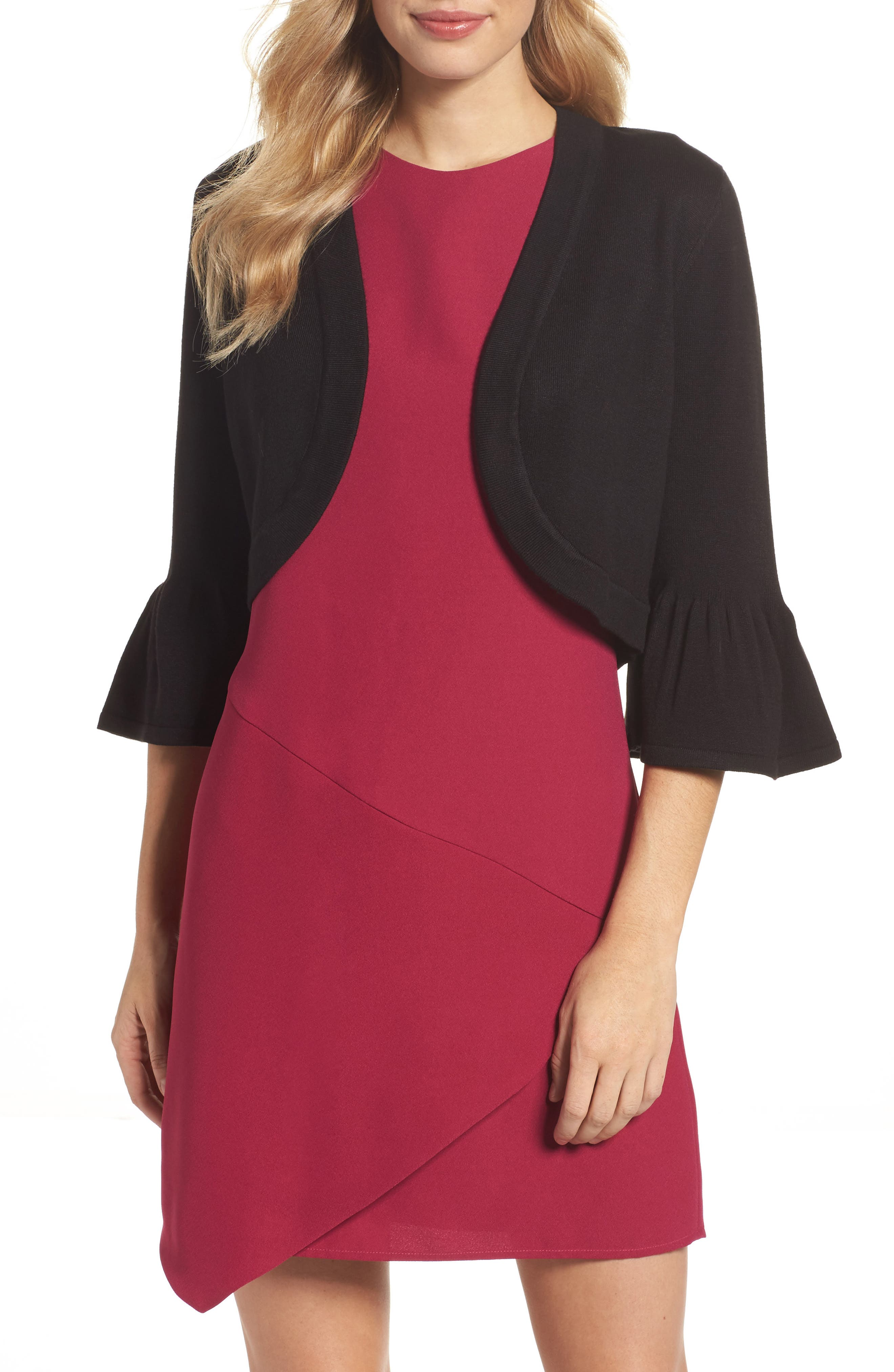 Bell Sleeve Bolero,                         Main,                         color, BLACK